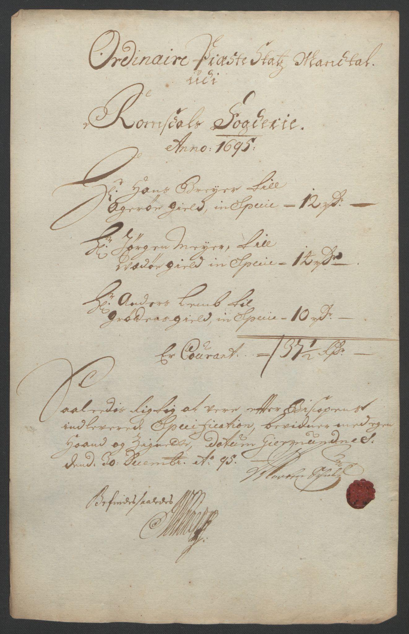 RA, Rentekammeret inntil 1814, Reviderte regnskaper, Fogderegnskap, R55/L3652: Fogderegnskap Romsdal, 1695-1696, s. 129