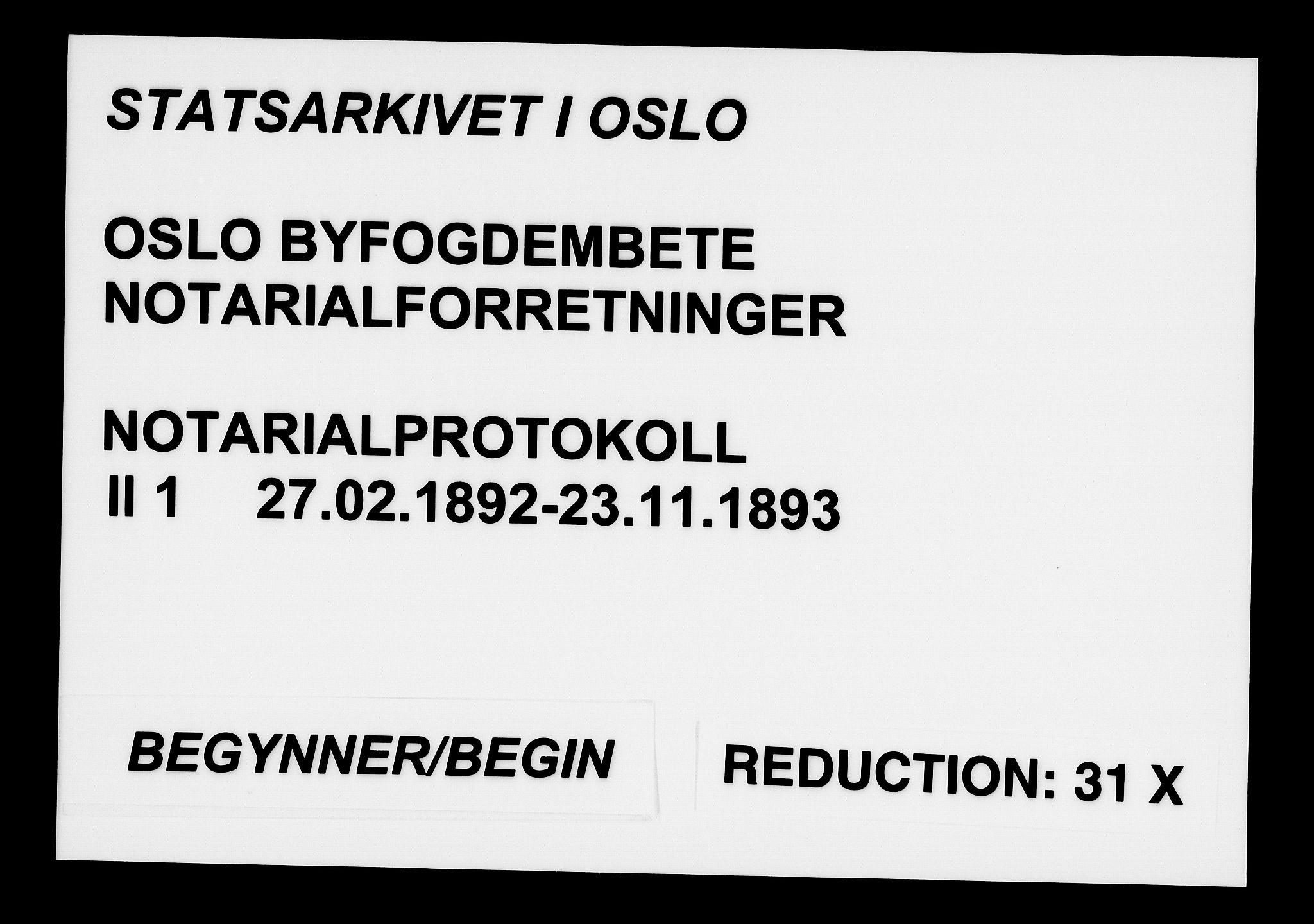 SAO, Oslo byfogd avd. I, L/Lb/Lbb/L0001: Notarialprotokoll, rekke II: Vigsler, 1892-1893, s. upaginert
