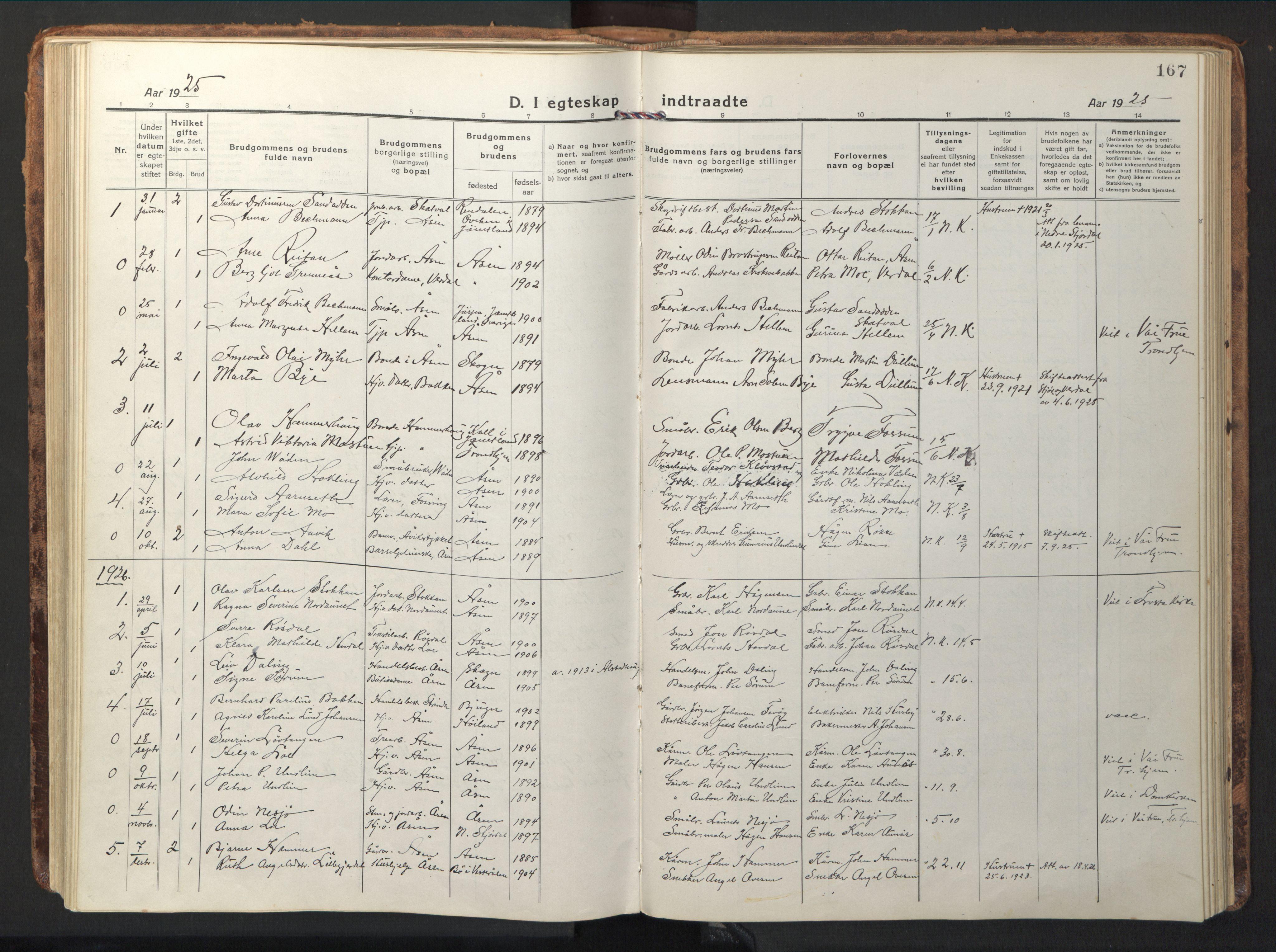 SAT, Ministerialprotokoller, klokkerbøker og fødselsregistre - Nord-Trøndelag, 714/L0136: Klokkerbok nr. 714C05, 1918-1957, s. 167