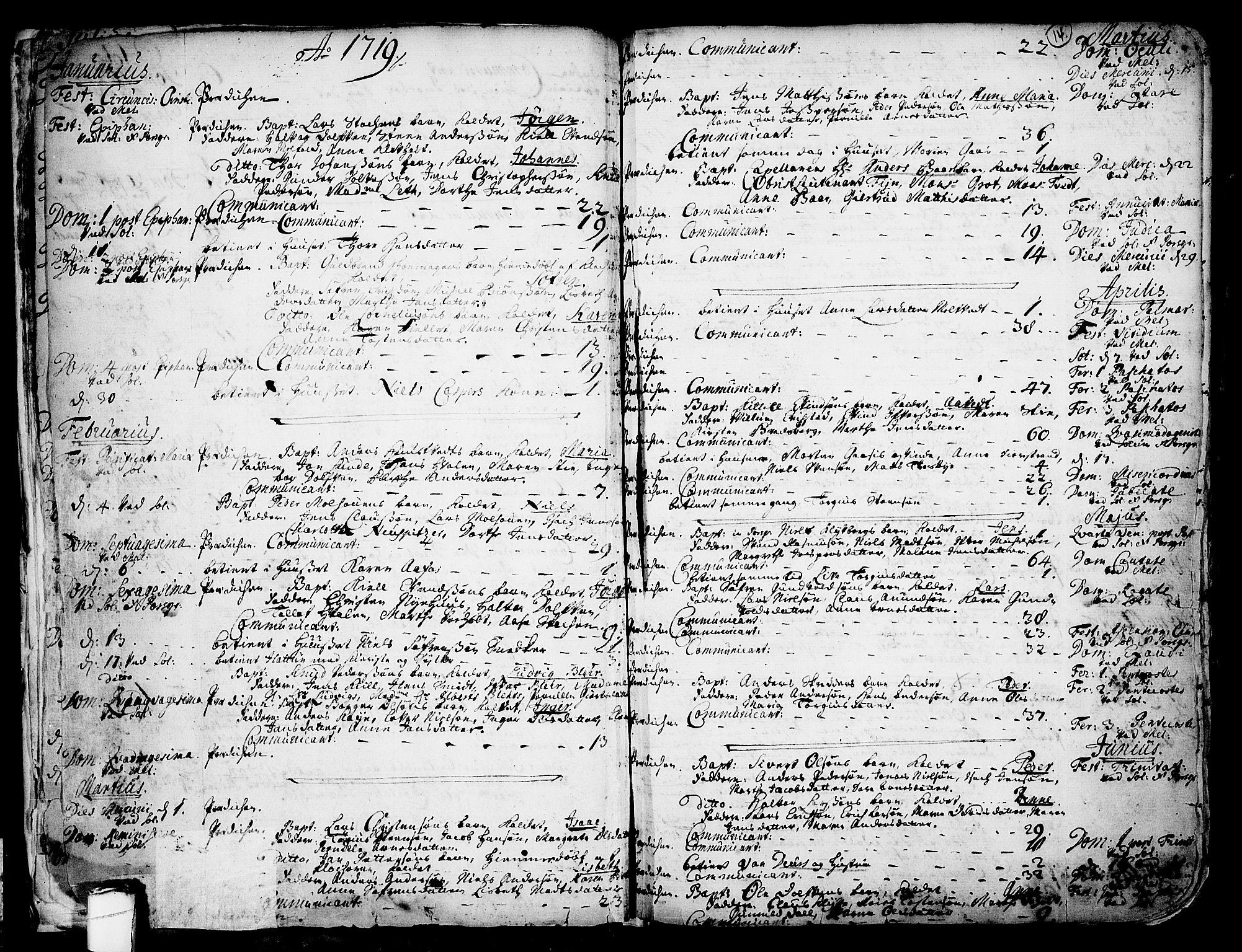 SAKO, Solum kirkebøker, F/Fa/L0002: Ministerialbok nr. I 2, 1713-1761, s. 14