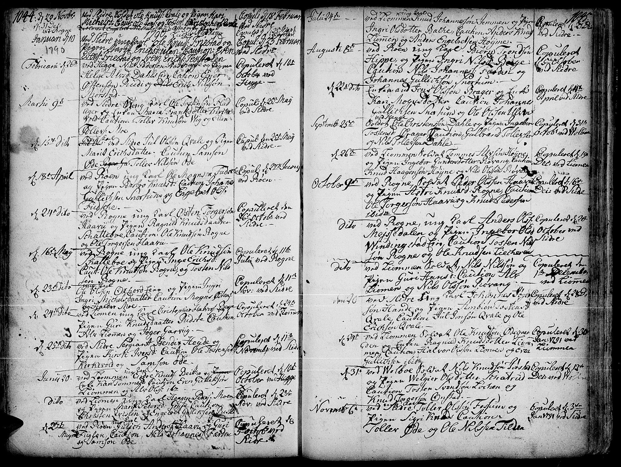 SAH, Slidre prestekontor, Ministerialbok nr. 1, 1724-1814, s. 1044-1045