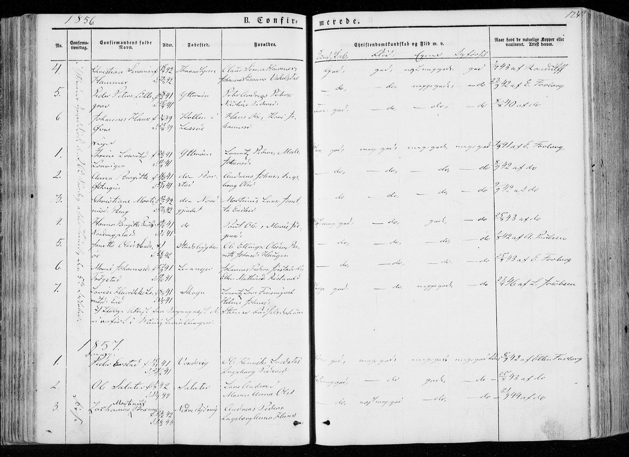 SAT, Ministerialprotokoller, klokkerbøker og fødselsregistre - Nord-Trøndelag, 722/L0218: Ministerialbok nr. 722A05, 1843-1868, s. 124
