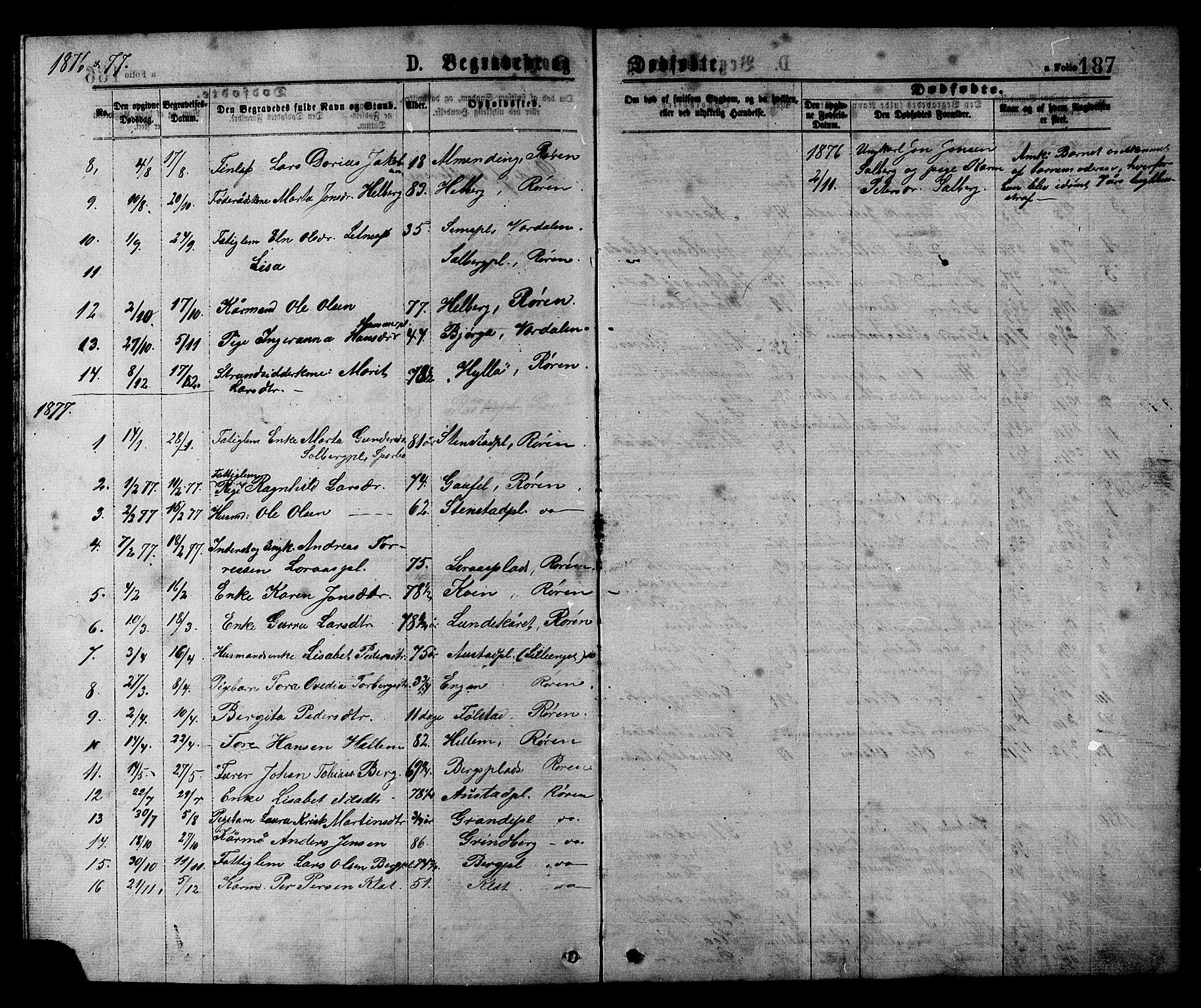 SAT, Ministerialprotokoller, klokkerbøker og fødselsregistre - Nord-Trøndelag, 731/L0311: Klokkerbok nr. 731C02, 1875-1911, s. 187