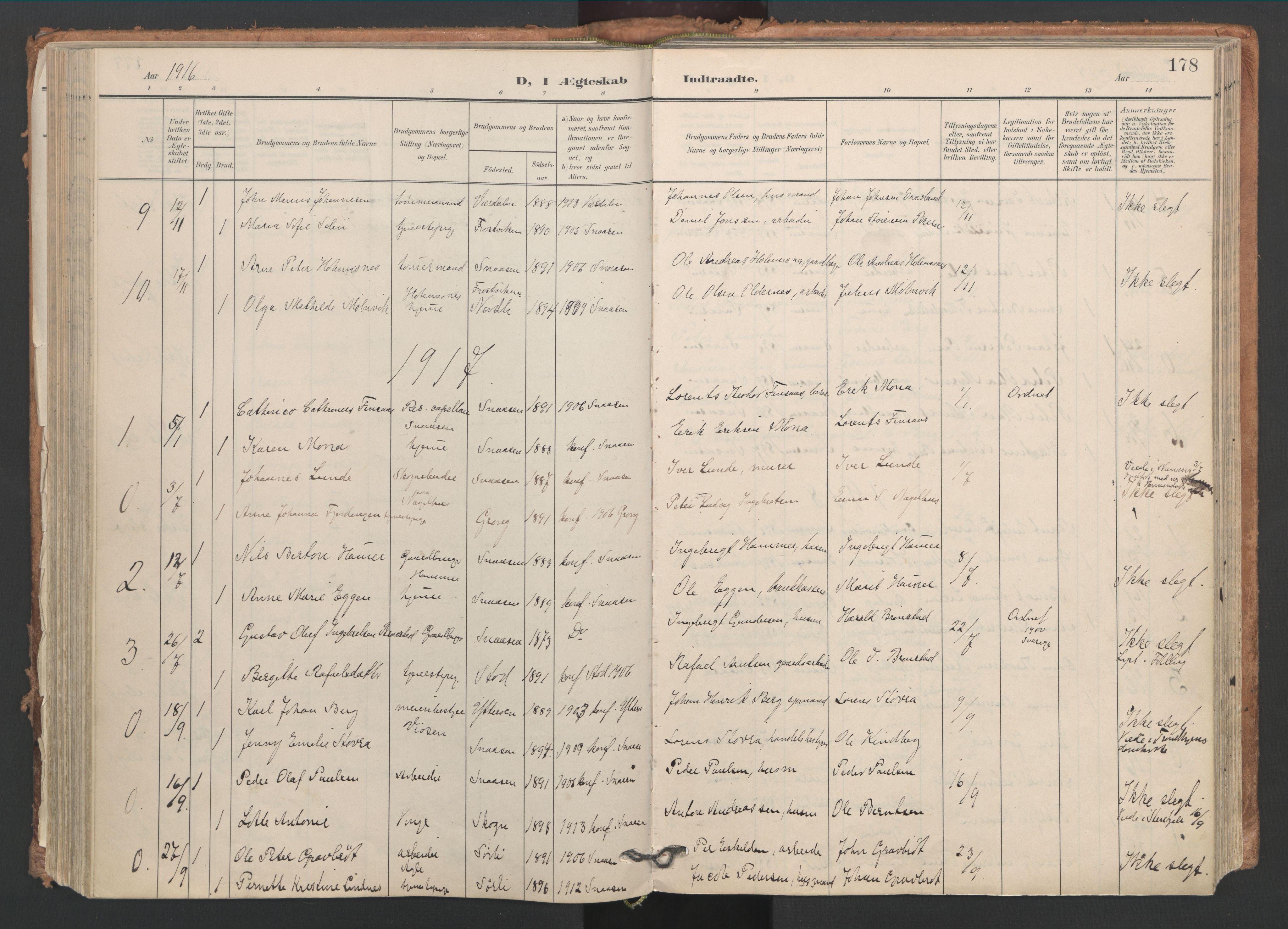 SAT, Ministerialprotokoller, klokkerbøker og fødselsregistre - Nord-Trøndelag, 749/L0477: Ministerialbok nr. 749A11, 1902-1927, s. 178