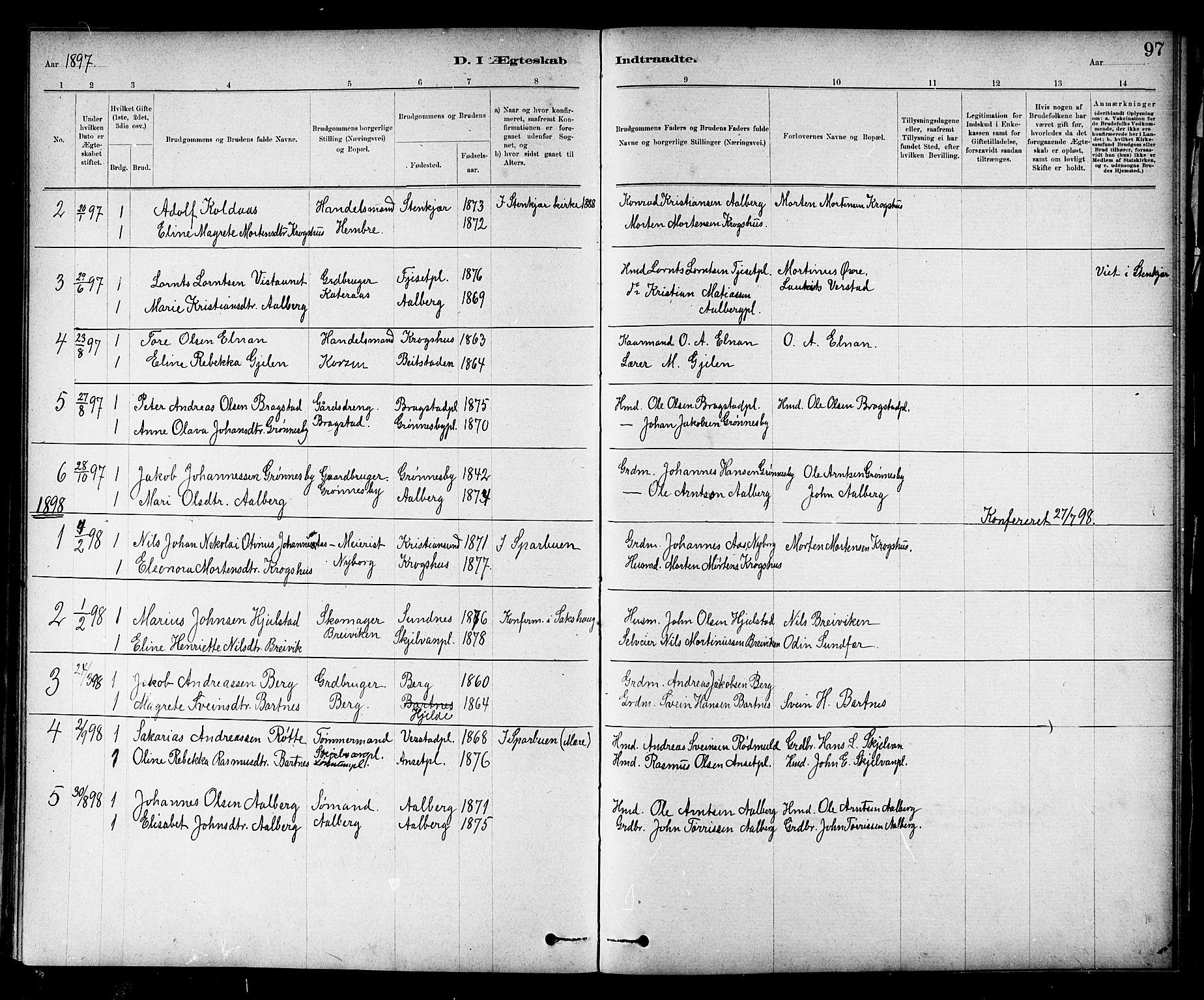 SAT, Ministerialprotokoller, klokkerbøker og fødselsregistre - Nord-Trøndelag, 732/L0318: Klokkerbok nr. 732C02, 1881-1911, s. 97