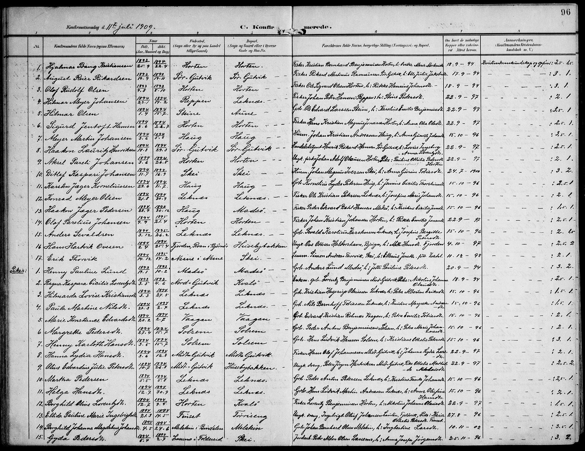 SAT, Ministerialprotokoller, klokkerbøker og fødselsregistre - Nord-Trøndelag, 788/L0698: Ministerialbok nr. 788A05, 1902-1921, s. 96