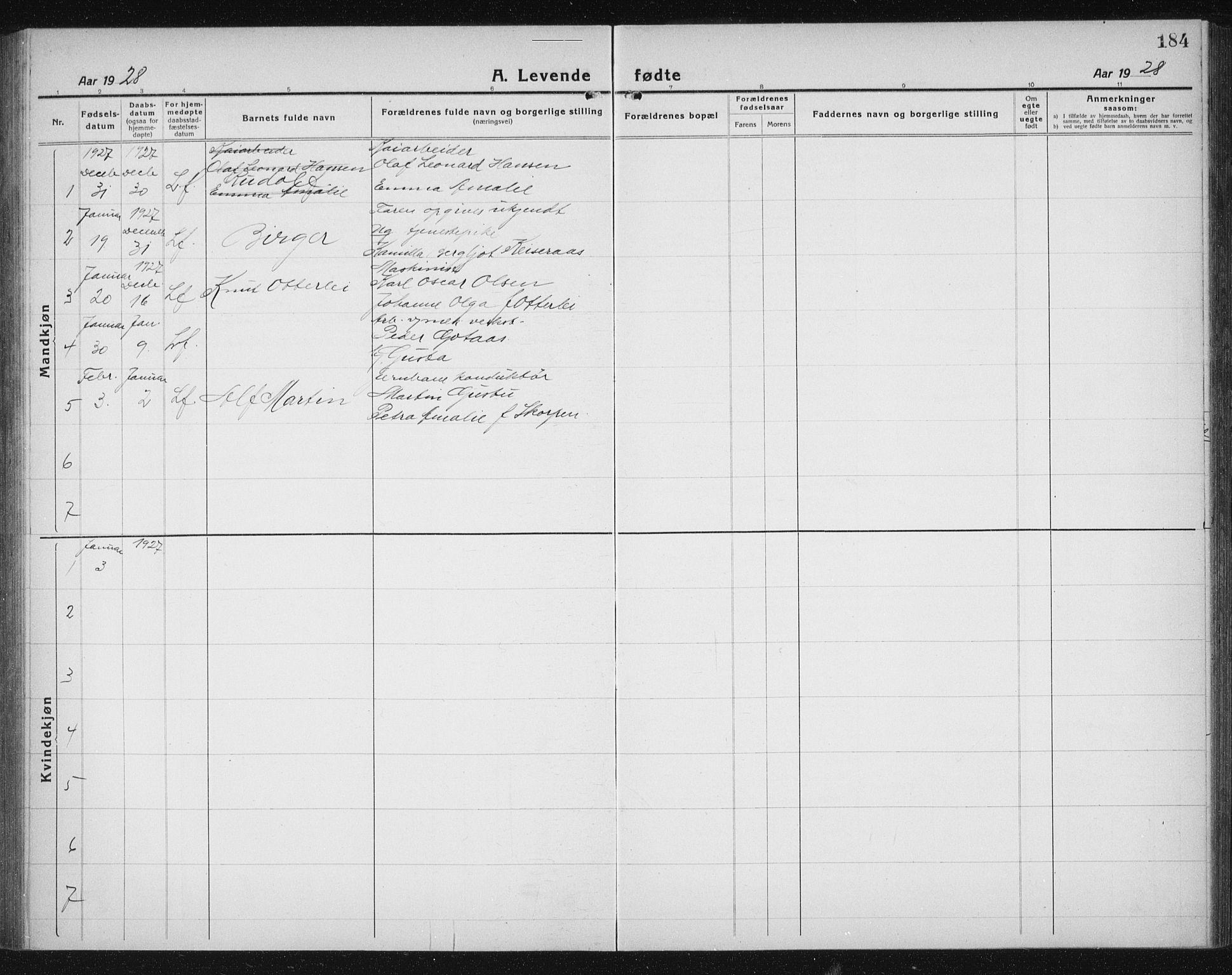SAT, Ministerialprotokoller, klokkerbøker og fødselsregistre - Sør-Trøndelag, 605/L0259: Klokkerbok nr. 605C06, 1920-1937, s. 184