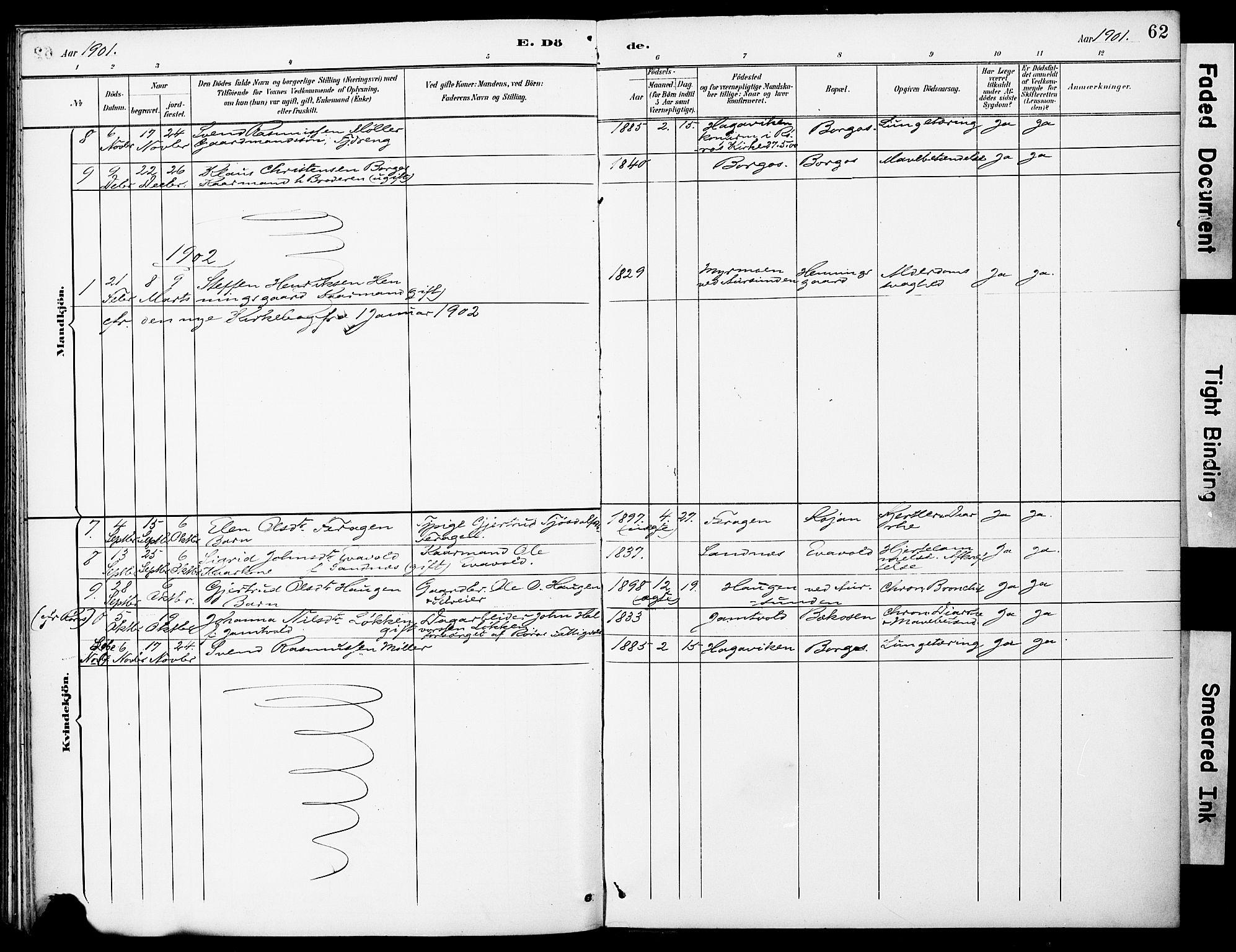 SAT, Ministerialprotokoller, klokkerbøker og fødselsregistre - Sør-Trøndelag, 683/L0948: Ministerialbok nr. 683A01, 1891-1902, s. 62