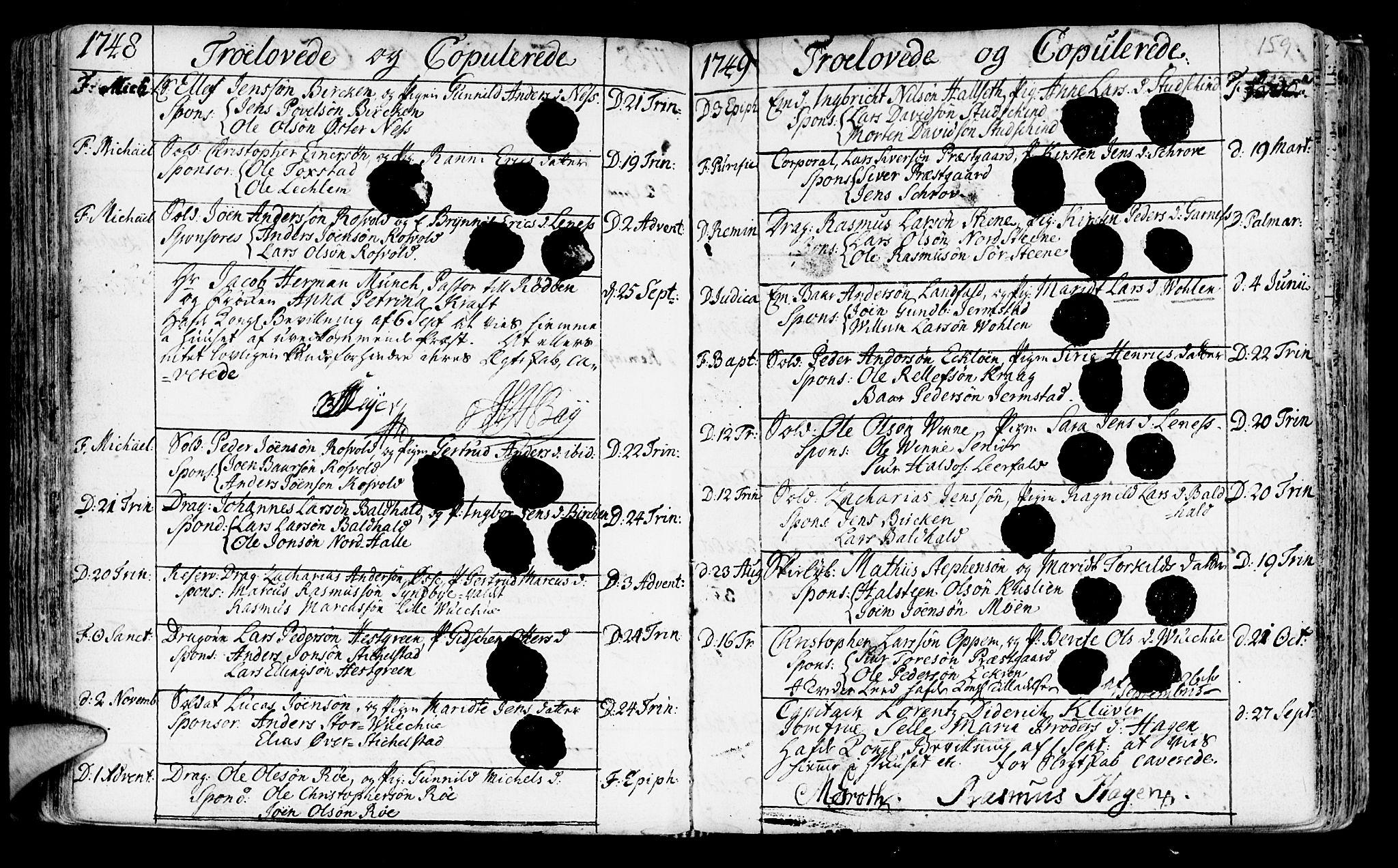 SAT, Ministerialprotokoller, klokkerbøker og fødselsregistre - Nord-Trøndelag, 723/L0231: Ministerialbok nr. 723A02, 1748-1780, s. 159