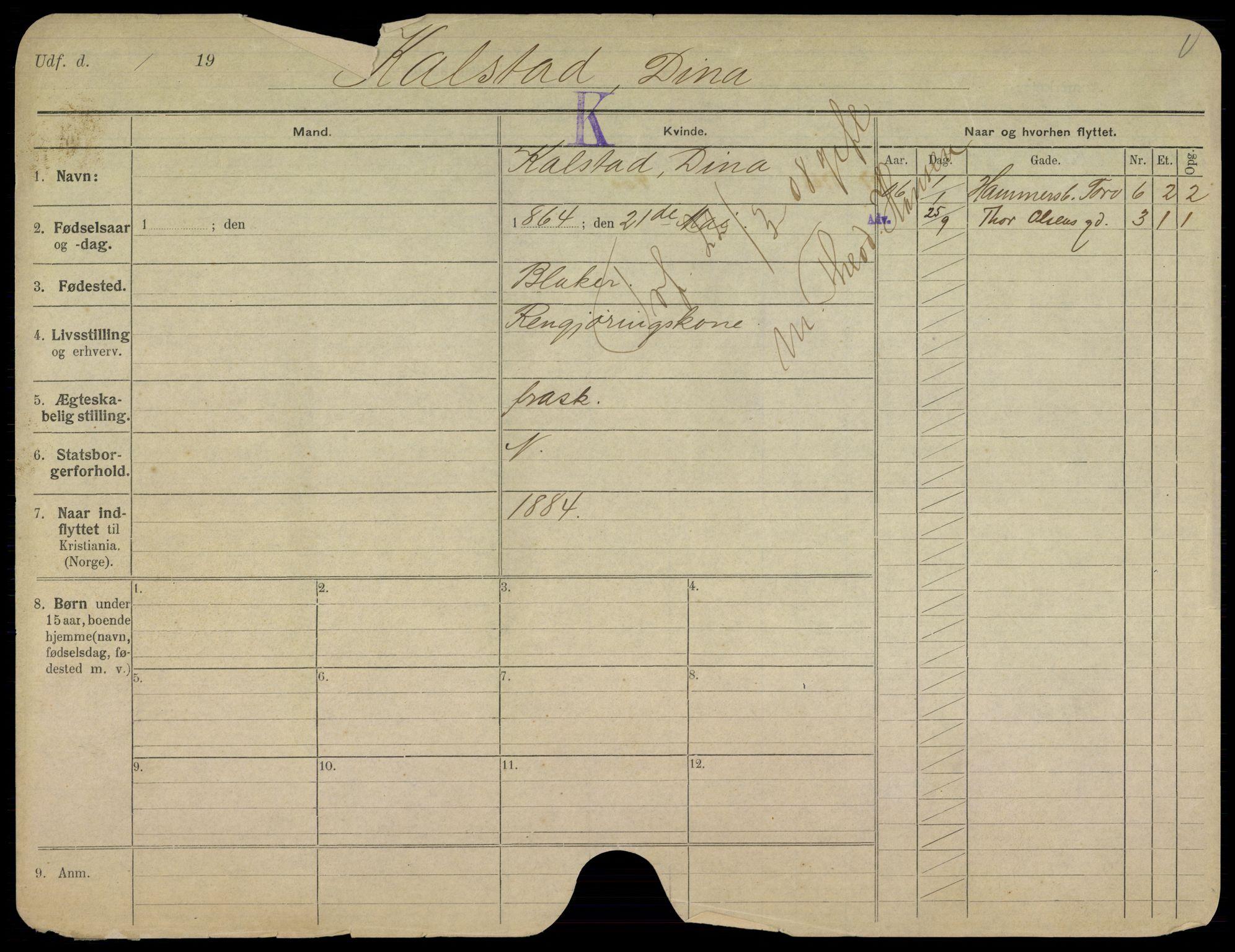 SAO, Oslo folkeregister, Registerkort, K/Kb/L0006: K - Å, 1908
