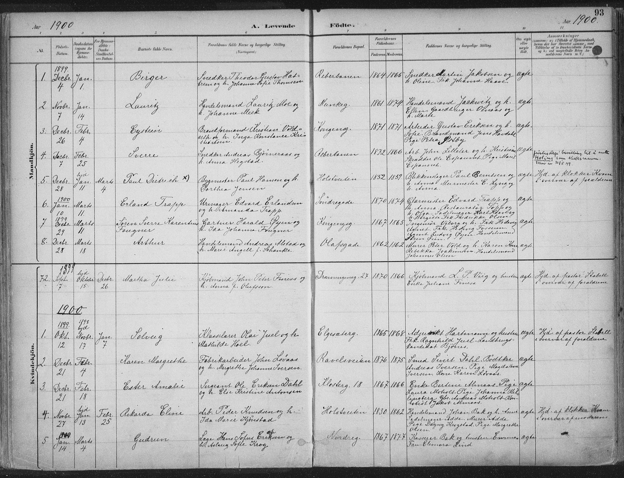 SAT, Ministerialprotokoller, klokkerbøker og fødselsregistre - Sør-Trøndelag, 601/L0062: Ministerialbok nr. 601A30, 1891-1911, s. 93