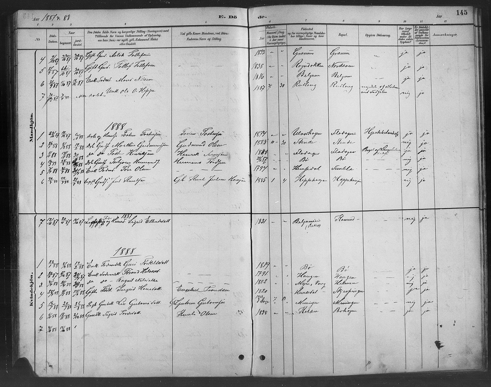 SAH, Nord-Aurdal prestekontor, Klokkerbok nr. 8, 1883-1916, s. 145