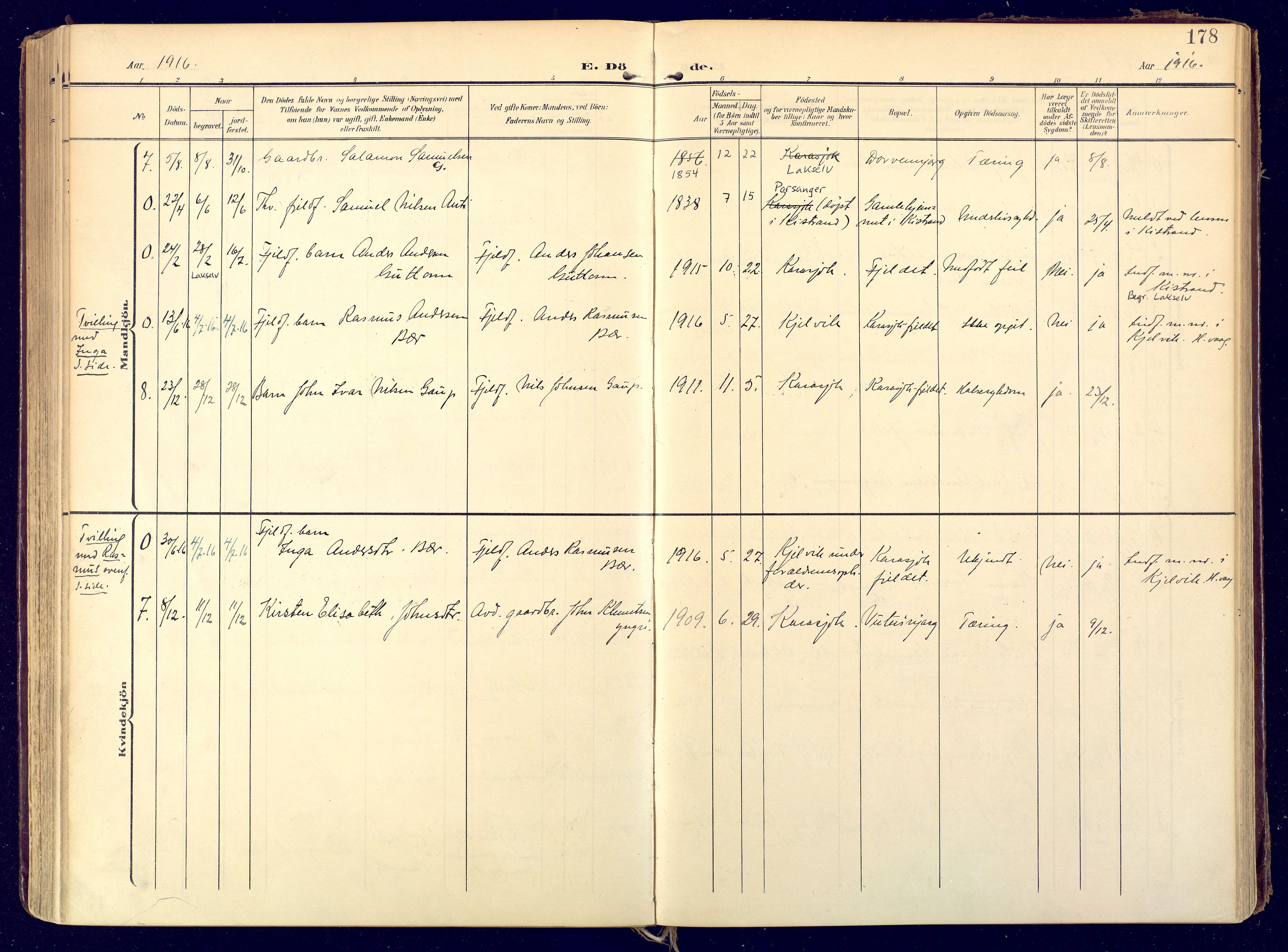 SATØ, Karasjok sokneprestkontor, H/Ha: Ministerialbok nr. 3, 1907-1926, s. 178