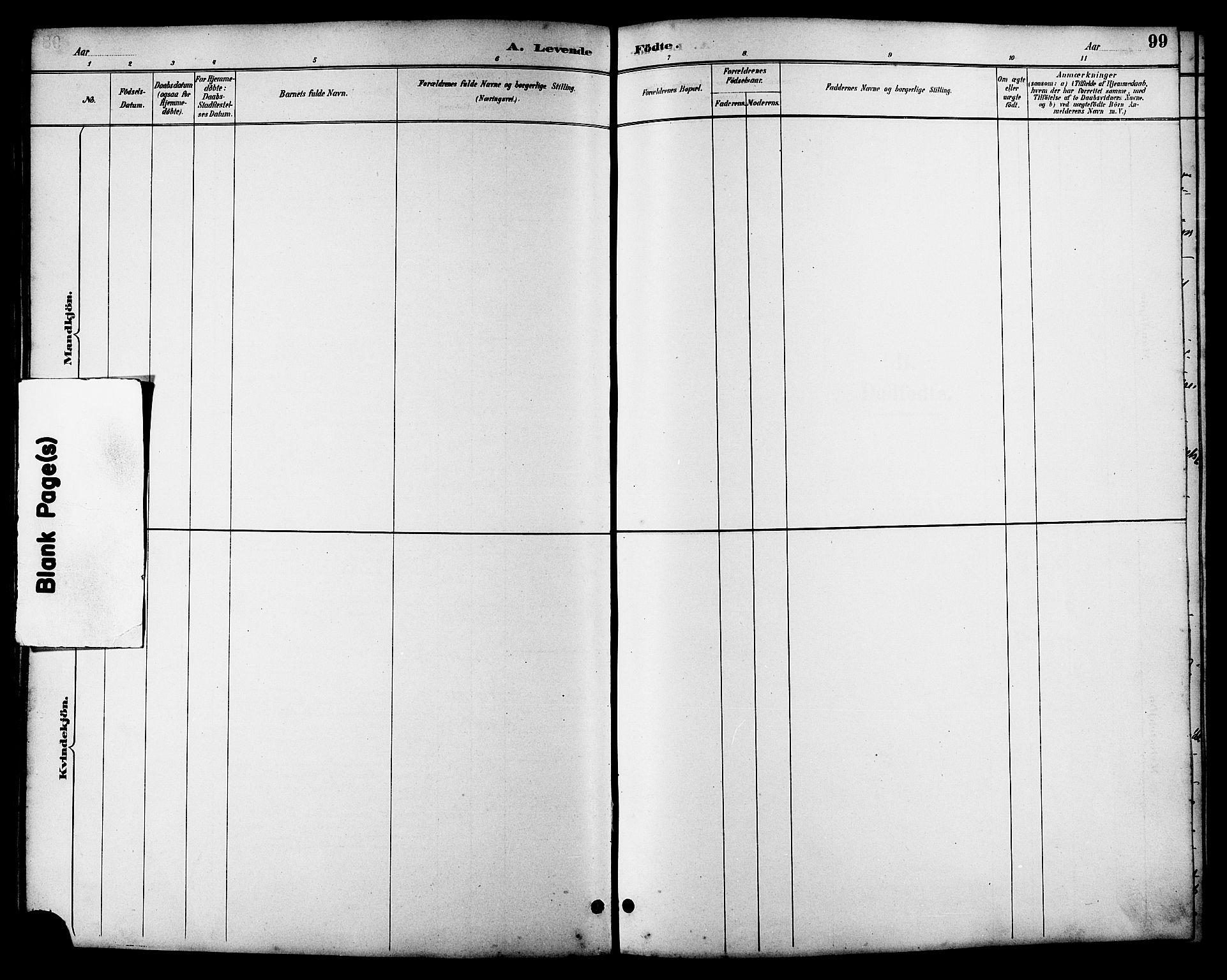 SAT, Ministerialprotokoller, klokkerbøker og fødselsregistre - Sør-Trøndelag, 657/L0716: Klokkerbok nr. 657C03, 1889-1904, s. 99