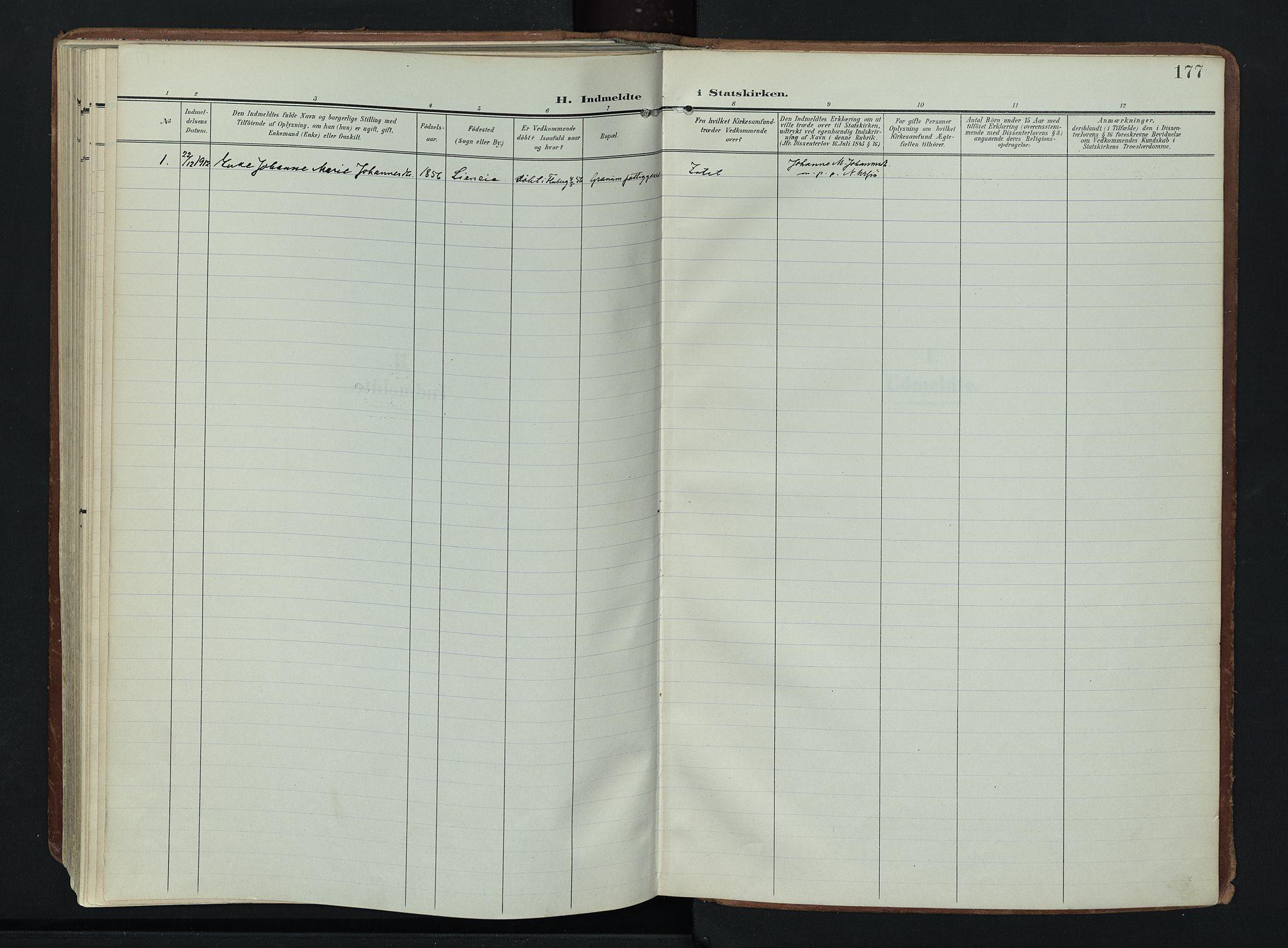 SAH, Søndre Land prestekontor, K/L0007: Ministerialbok nr. 7, 1905-1914, s. 177