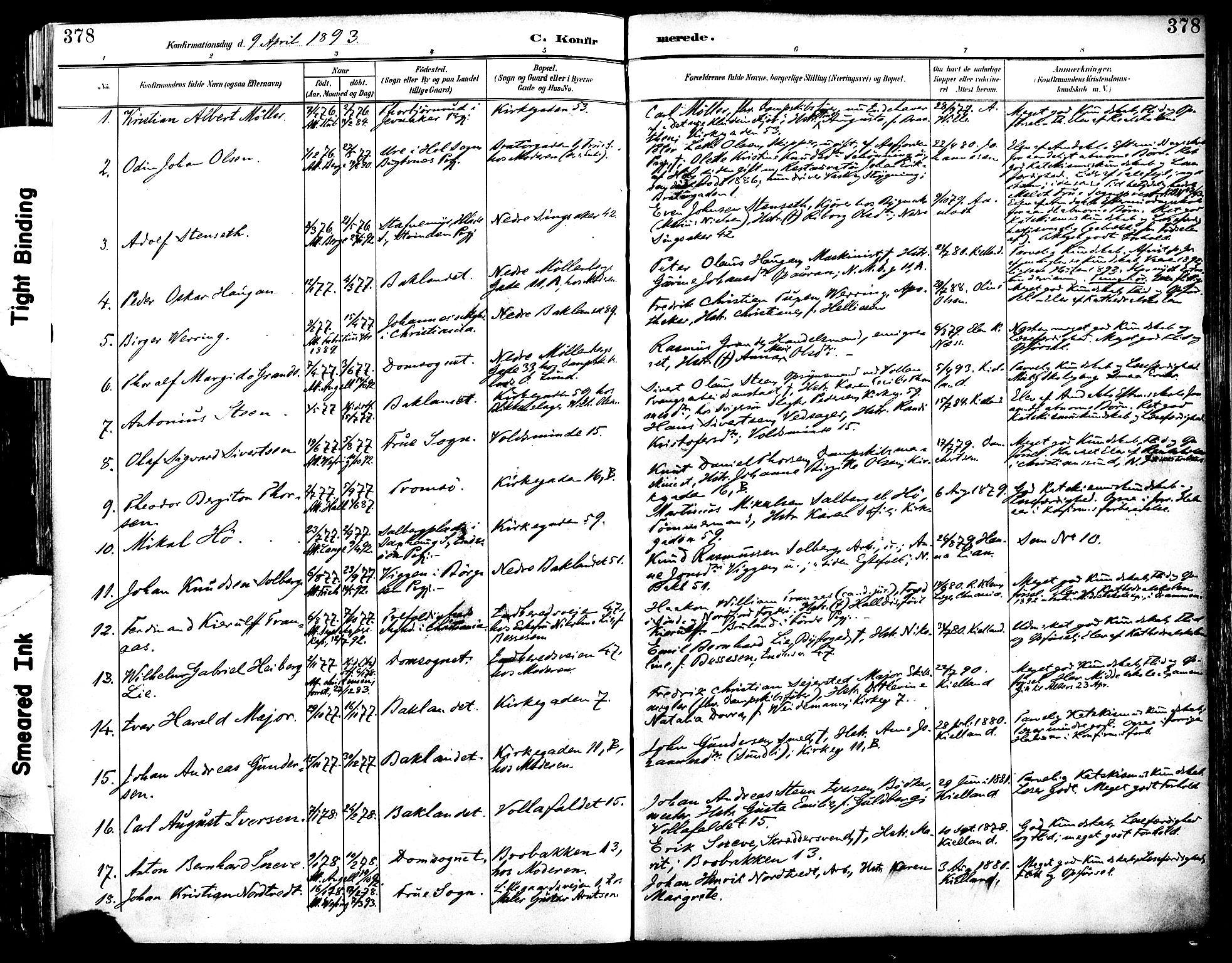SAT, Ministerialprotokoller, klokkerbøker og fødselsregistre - Sør-Trøndelag, 604/L0197: Ministerialbok nr. 604A18, 1893-1900, s. 378