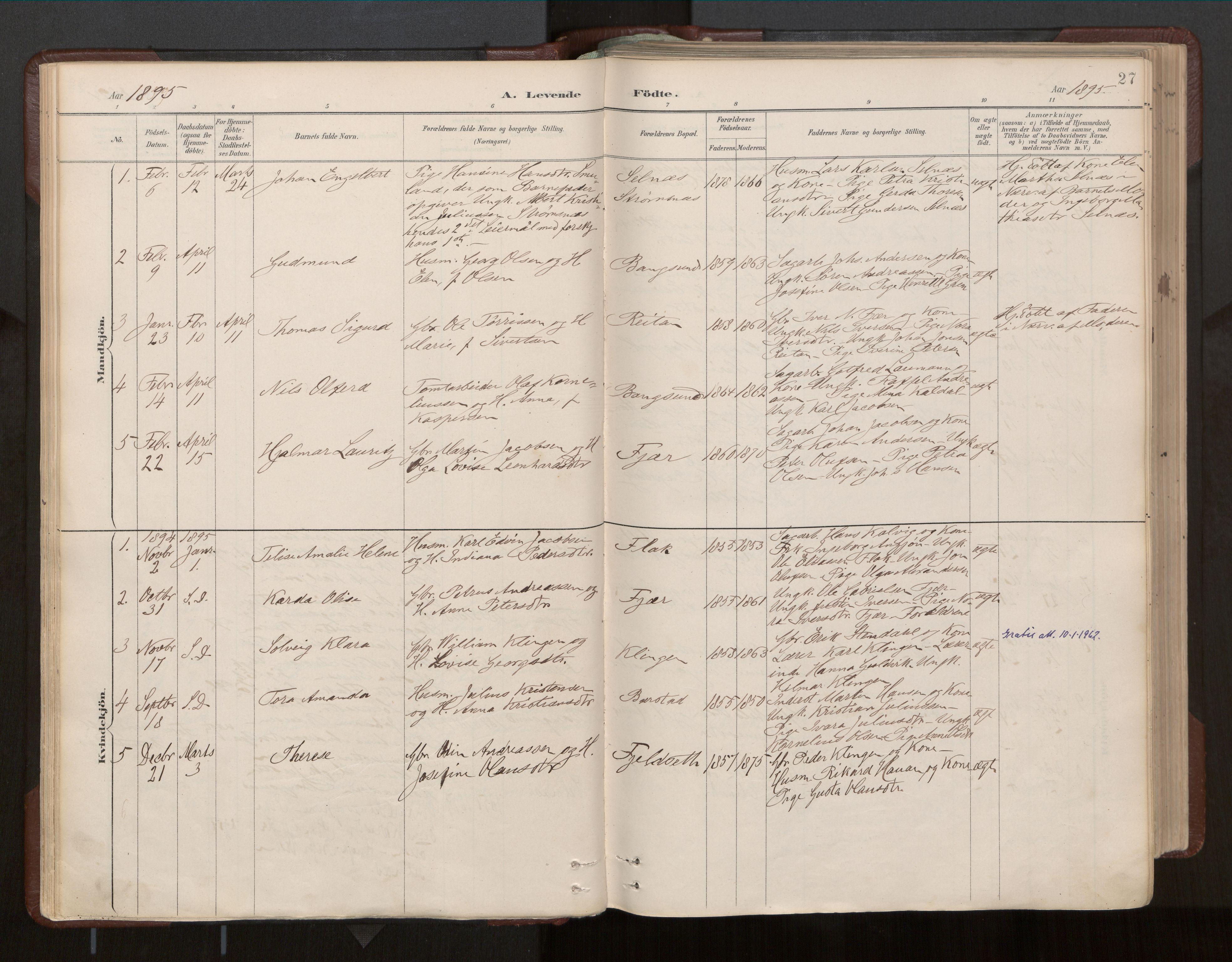 SAT, Ministerialprotokoller, klokkerbøker og fødselsregistre - Nord-Trøndelag, 770/L0589: Ministerialbok nr. 770A03, 1887-1929, s. 27