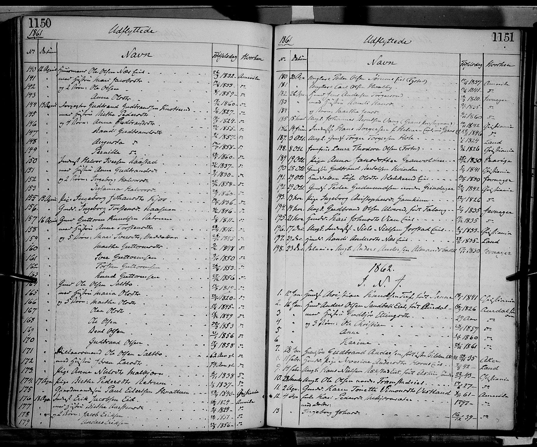 SAH, Gran prestekontor, Ministerialbok nr. 12, 1856-1874, s. 1150-1151
