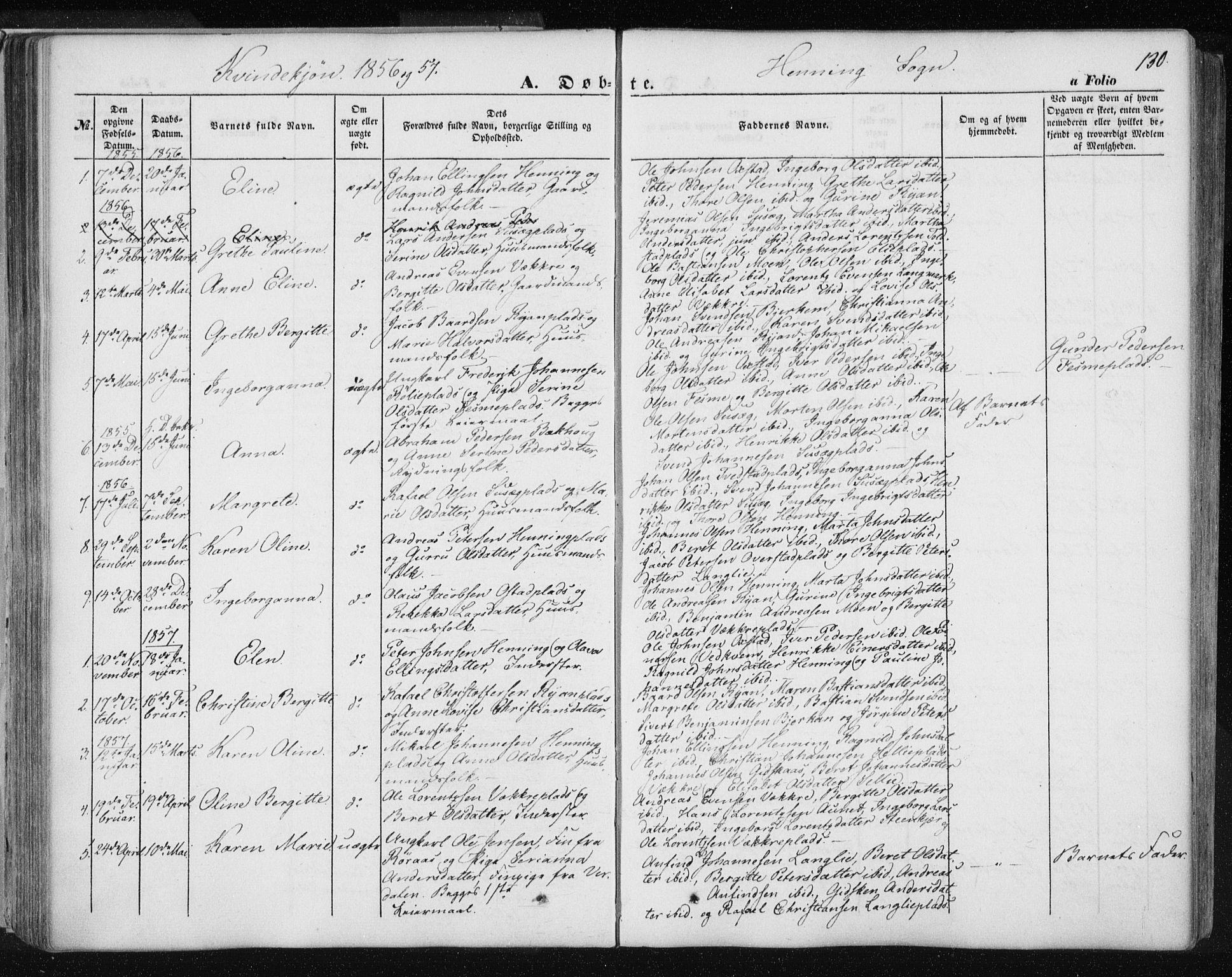 SAT, Ministerialprotokoller, klokkerbøker og fødselsregistre - Nord-Trøndelag, 735/L0342: Ministerialbok nr. 735A07 /3, 1849-1862, s. 130