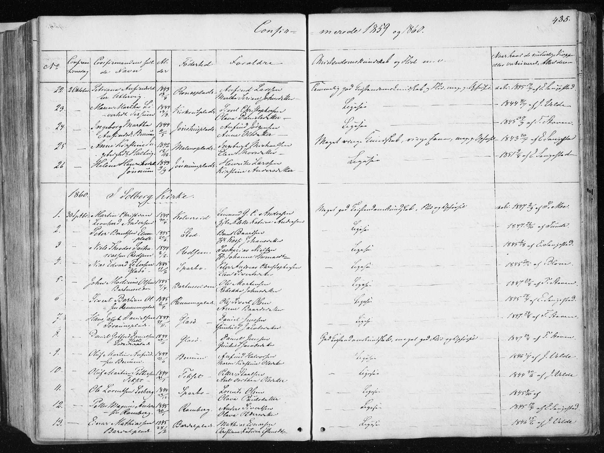 SAT, Ministerialprotokoller, klokkerbøker og fødselsregistre - Nord-Trøndelag, 741/L0393: Ministerialbok nr. 741A07, 1849-1863, s. 435