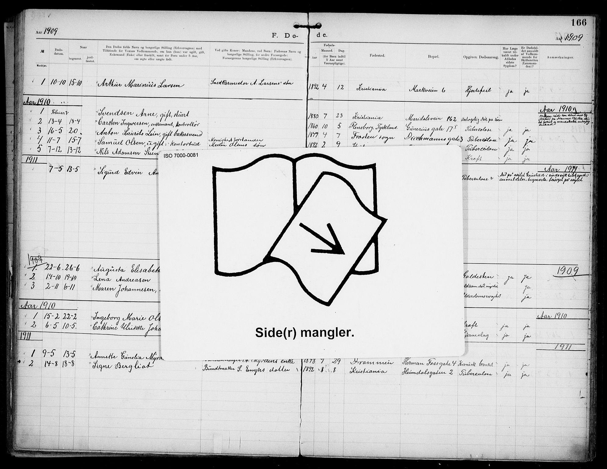 SAO, Den katolsk apostoliske menighet i Oslo , F/Fa/L0002: Dissenterprotokoll nr. 2, 1892-1937, s. 166