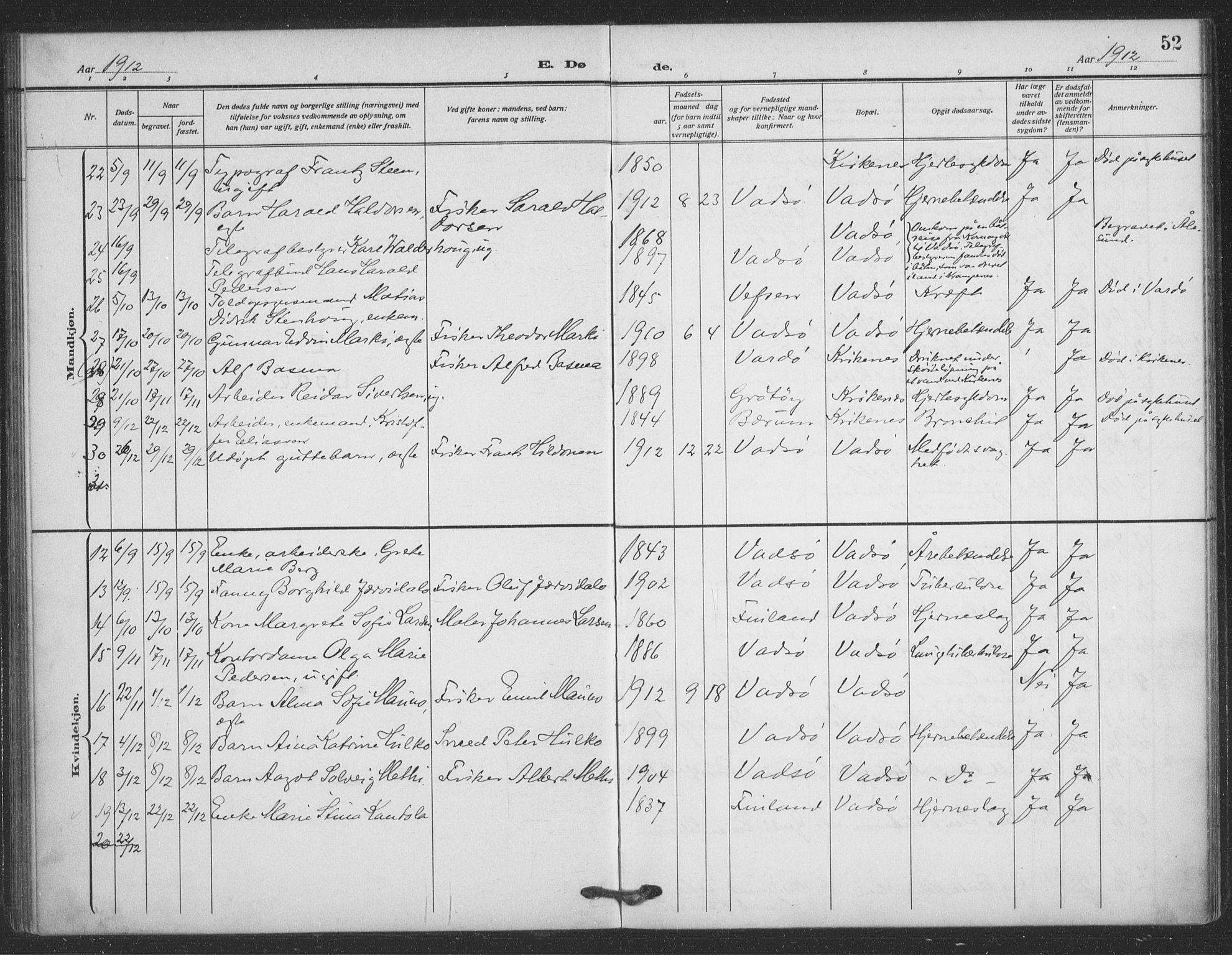 SATØ, Vadsø sokneprestkontor, H/Ha/L0008kirke: Ministerialbok nr. 8, 1912-1930, s. 52