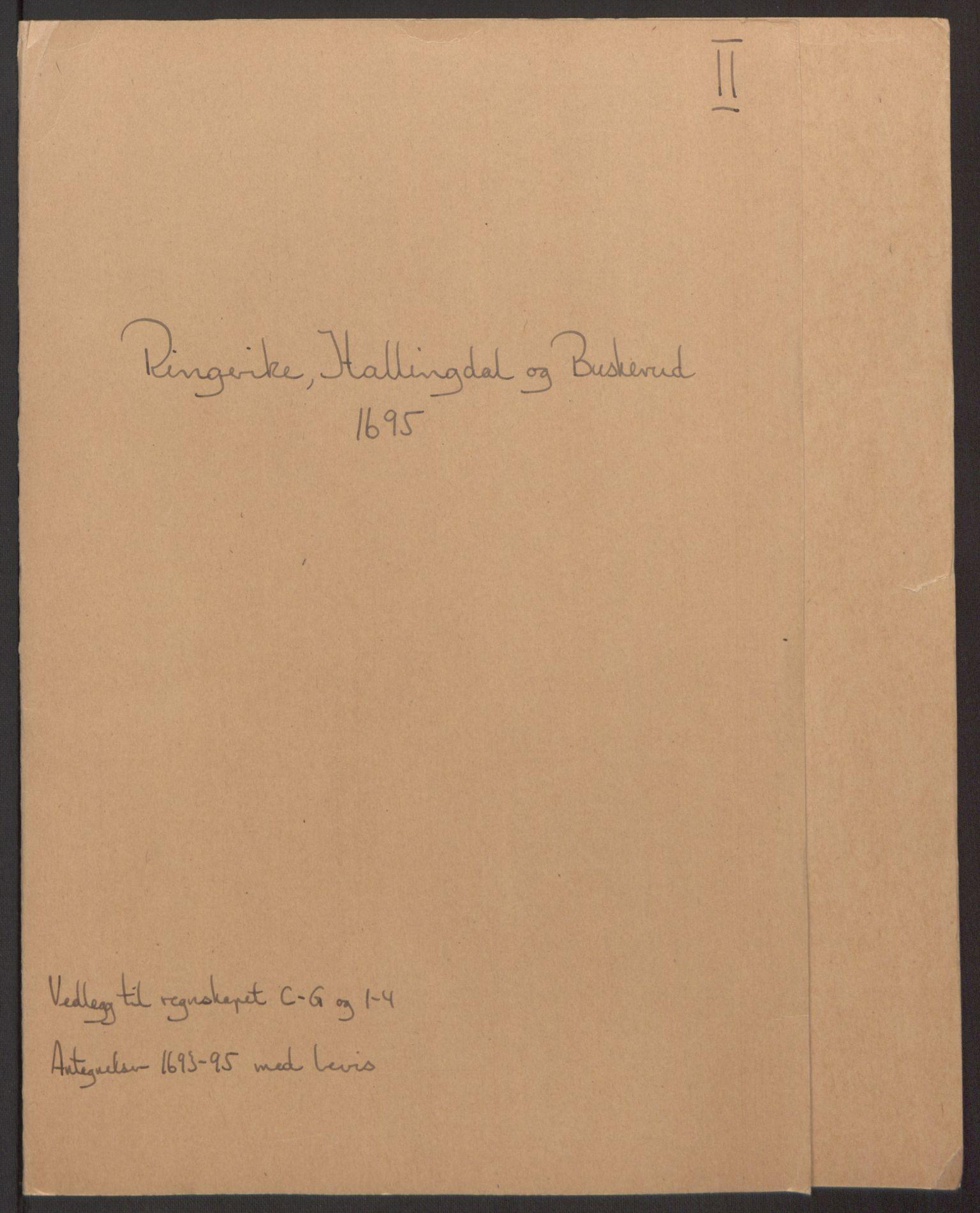 RA, Rentekammeret inntil 1814, Reviderte regnskaper, Fogderegnskap, R22/L1452: Fogderegnskap Ringerike, Hallingdal og Buskerud, 1695, s. 214