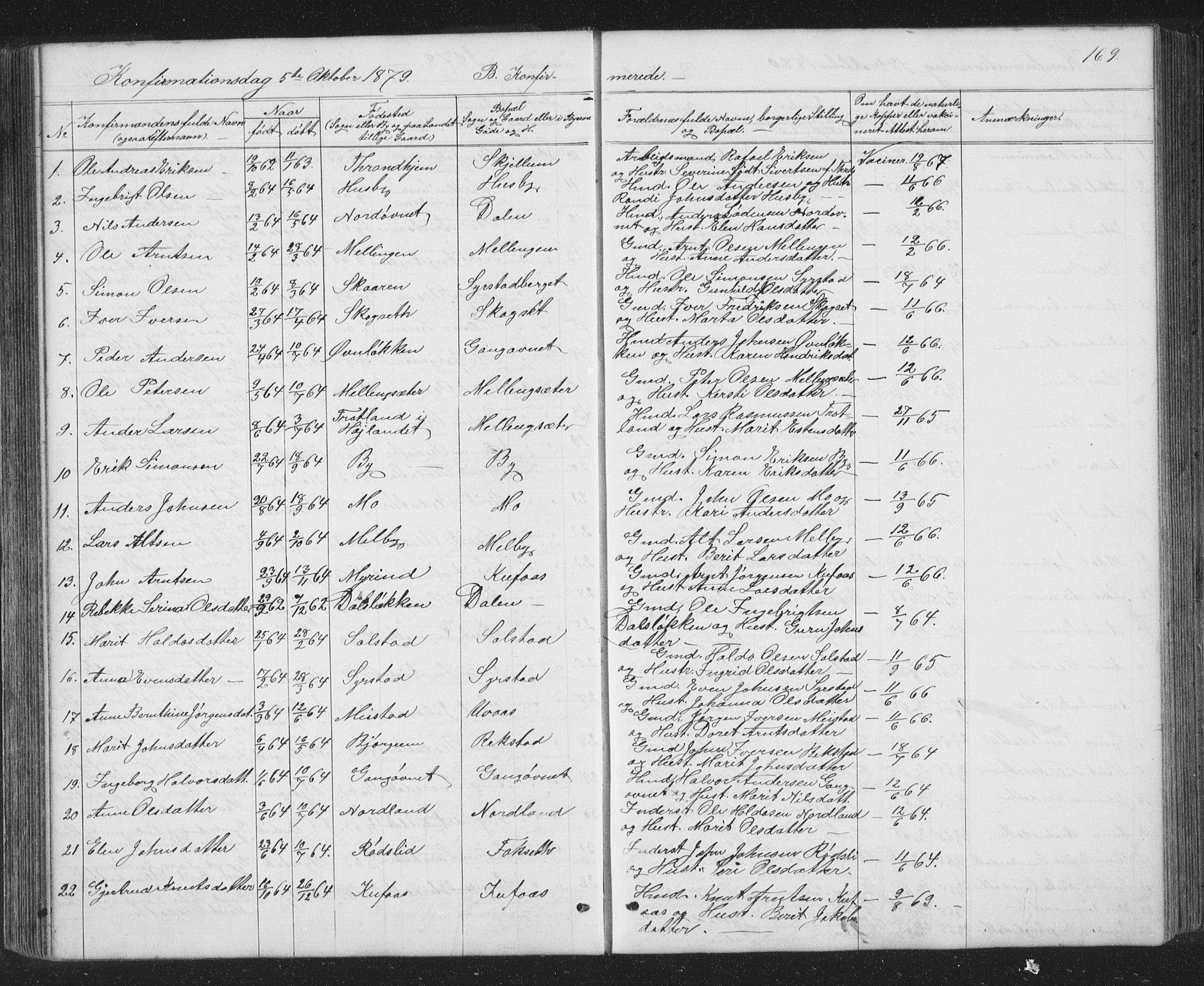 SAT, Ministerialprotokoller, klokkerbøker og fødselsregistre - Sør-Trøndelag, 667/L0798: Klokkerbok nr. 667C03, 1867-1929, s. 169