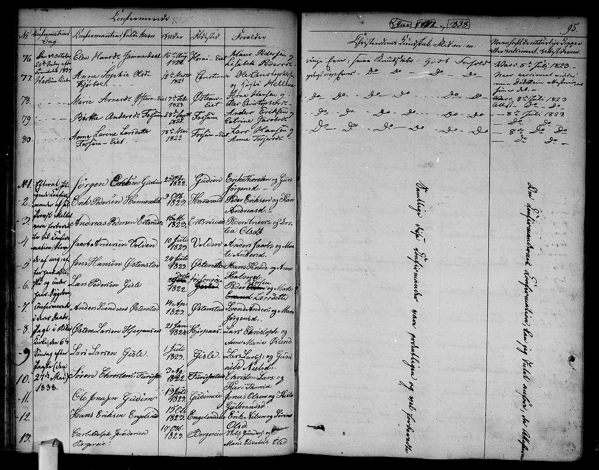 SAO, Asker prestekontor Kirkebøker, F/Fa/L0009: Ministerialbok nr. I 9, 1825-1878, s. 95