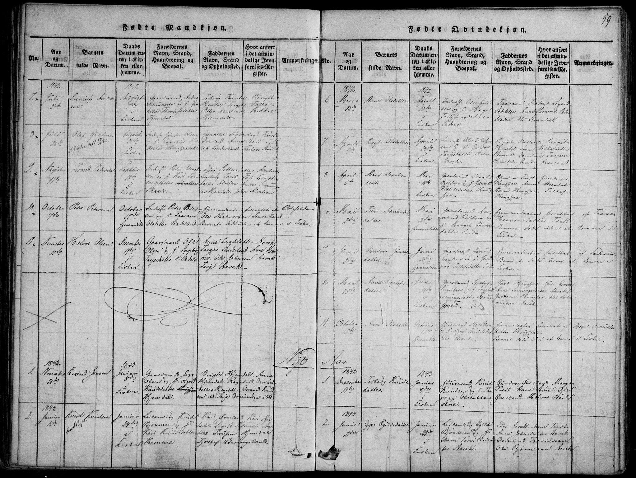 SAKO, Nissedal kirkebøker, F/Fb/L0001: Ministerialbok nr. II 1, 1814-1845, s. 59
