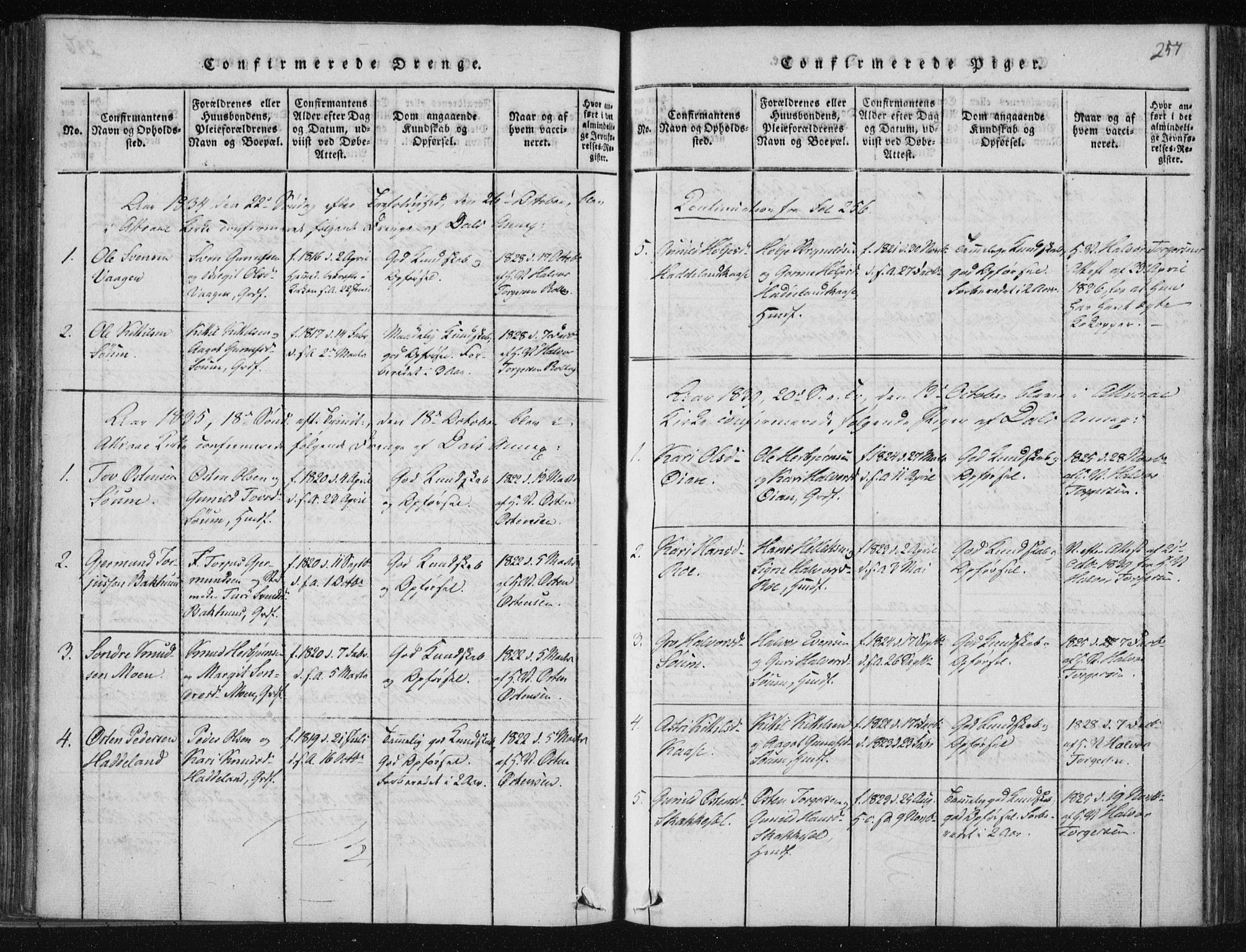 SAKO, Tinn kirkebøker, F/Fc/L0001: Ministerialbok nr. III 1, 1815-1843, s. 257