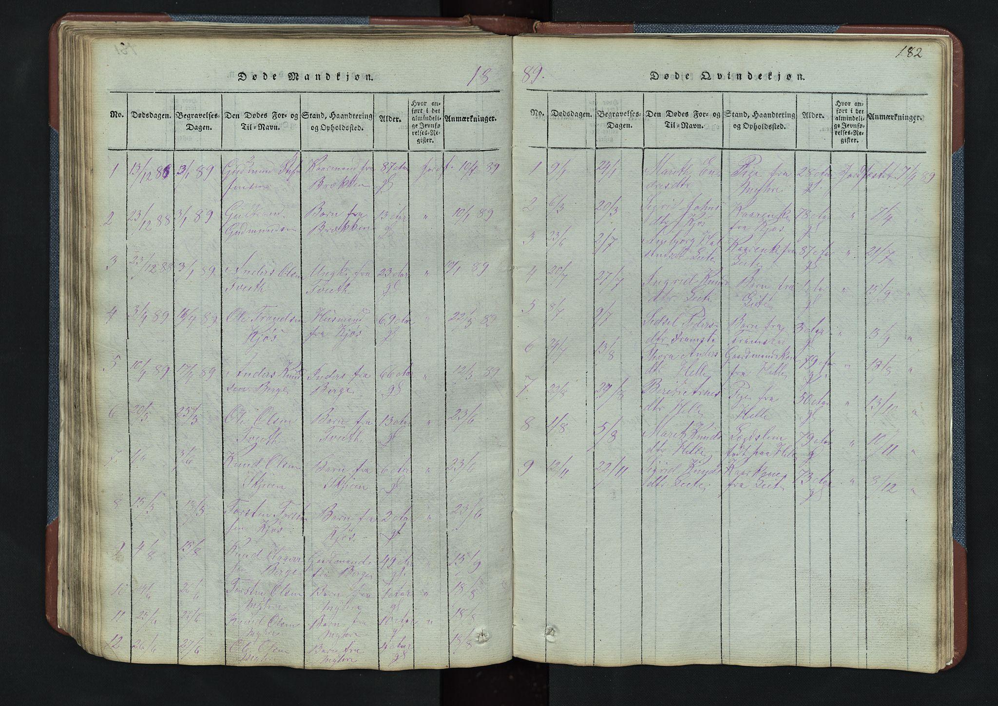 SAH, Vang prestekontor, Valdres, Klokkerbok nr. 3, 1814-1892, s. 182