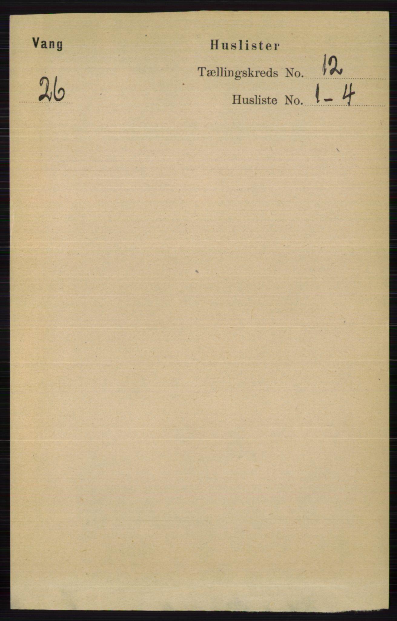 RA, Folketelling 1891 for 0545 Vang herred, 1891, s. 2612