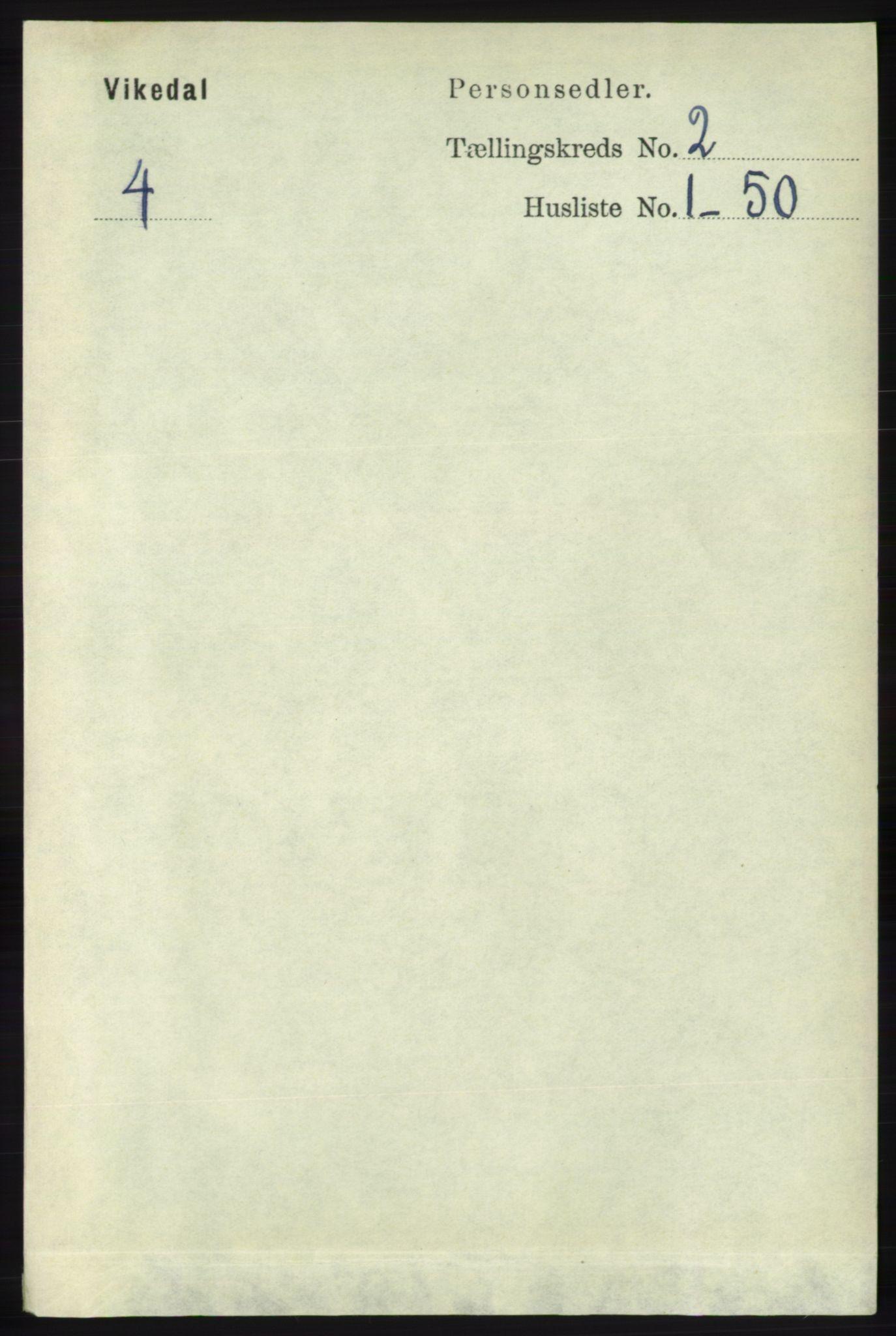 RA, Folketelling 1891 for 1157 Vikedal herred, 1891, s. 287