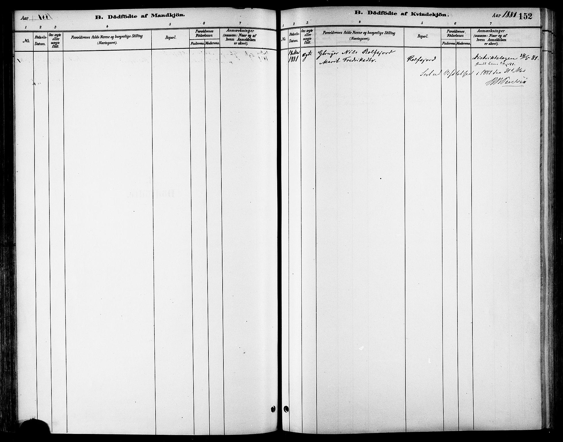 SAT, Ministerialprotokoller, klokkerbøker og fødselsregistre - Sør-Trøndelag, 678/L0901: Ministerialbok nr. 678A10, 1881-1894, s. 152