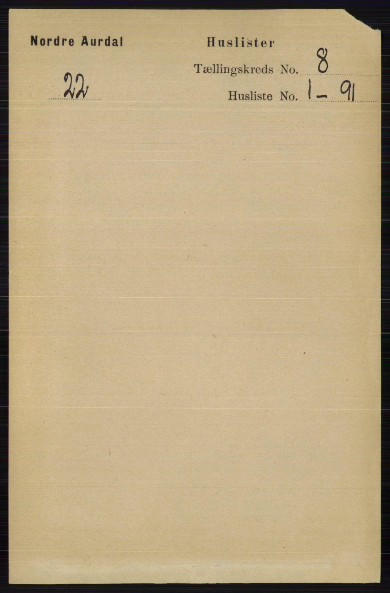 RA, Folketelling 1891 for 0542 Nord-Aurdal herred, 1891, s. 2705