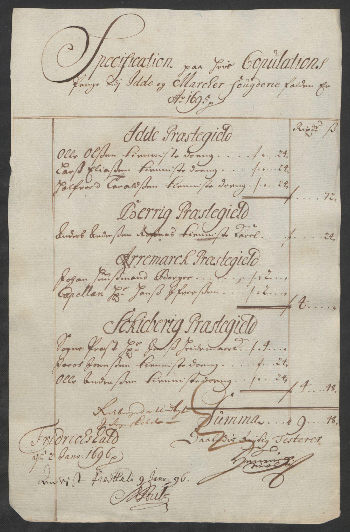 RA, Rentekammeret inntil 1814, Reviderte regnskaper, Fogderegnskap, R01/L0012: Fogderegnskap Idd og Marker, 1694-1695, s. 252