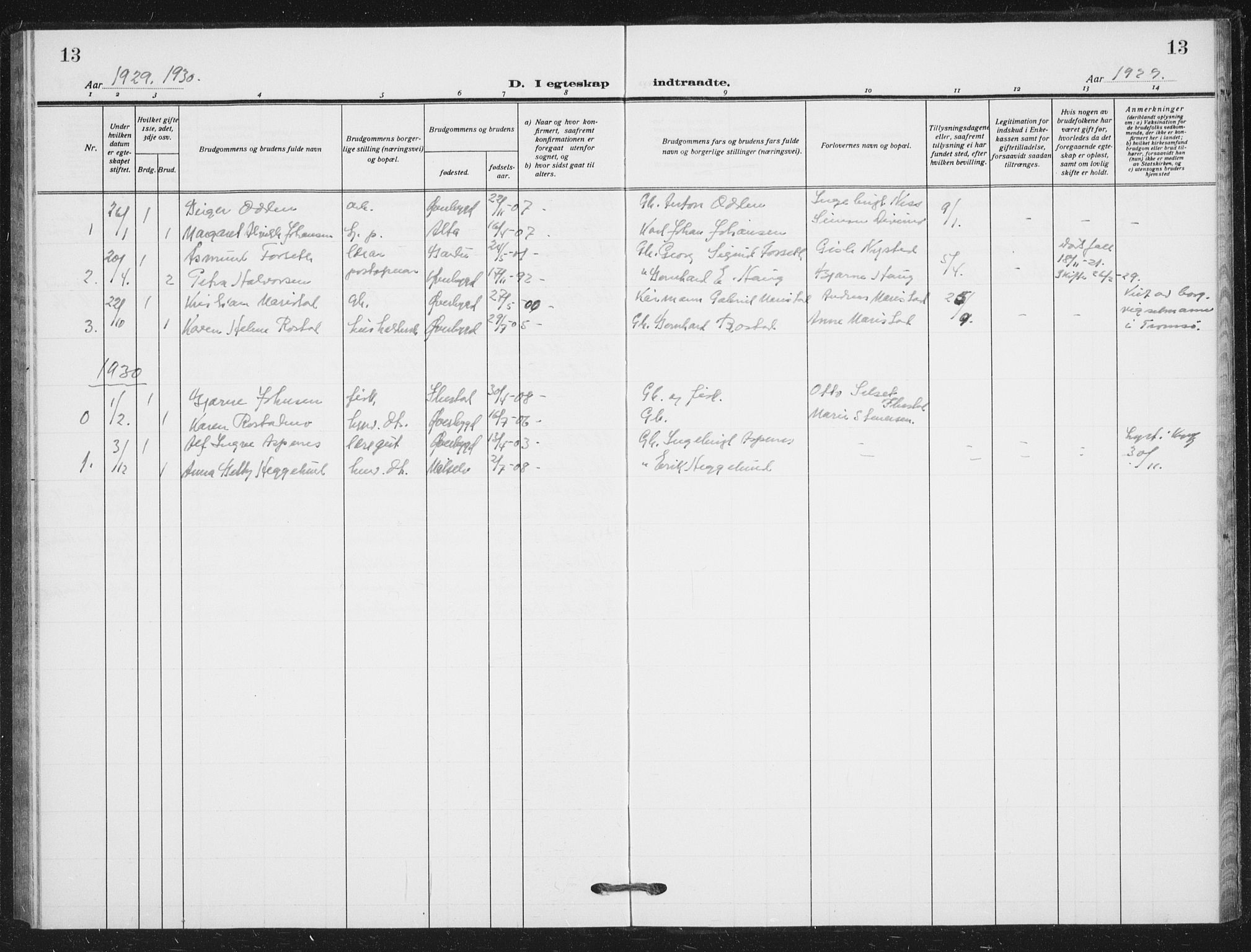 SATØ, Målselv sokneprestembete, G/Ga/Gab/L0012klokker: Klokkerbok nr. 12, 1900-1936, s. 13