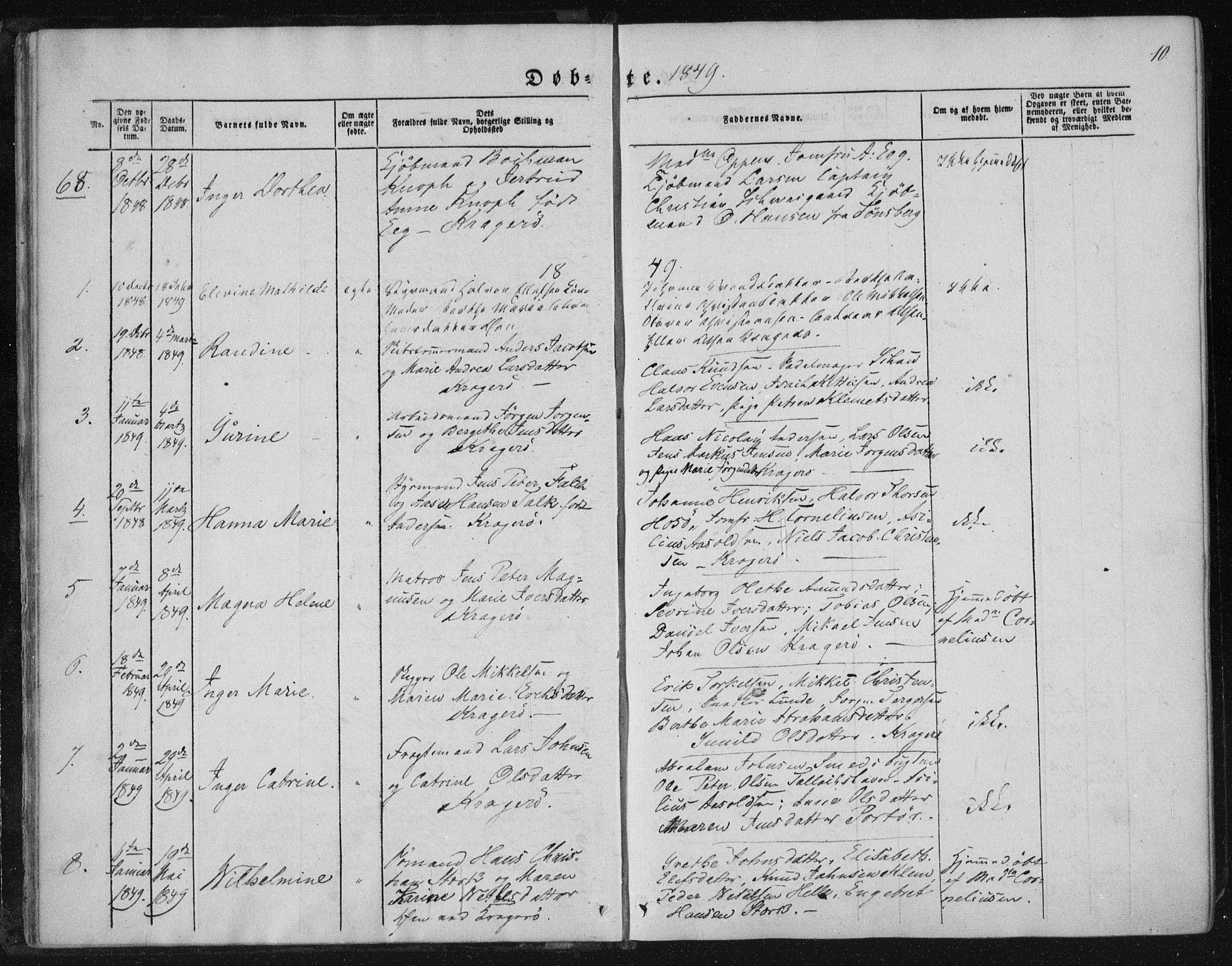 SAKO, Kragerø kirkebøker, F/Fa/L0006: Ministerialbok nr. 6, 1847-1861, s. 10