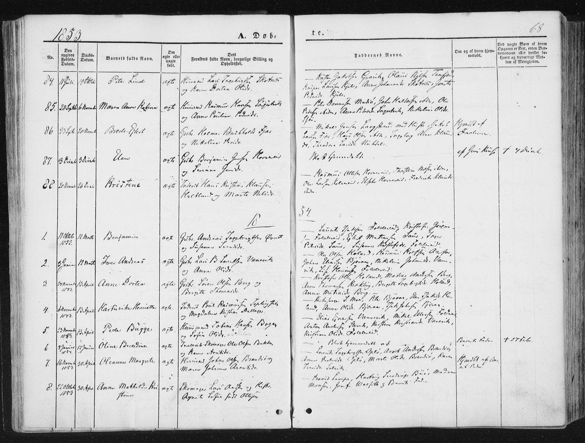 SAT, Ministerialprotokoller, klokkerbøker og fødselsregistre - Nord-Trøndelag, 780/L0640: Ministerialbok nr. 780A05, 1845-1856, s. 68