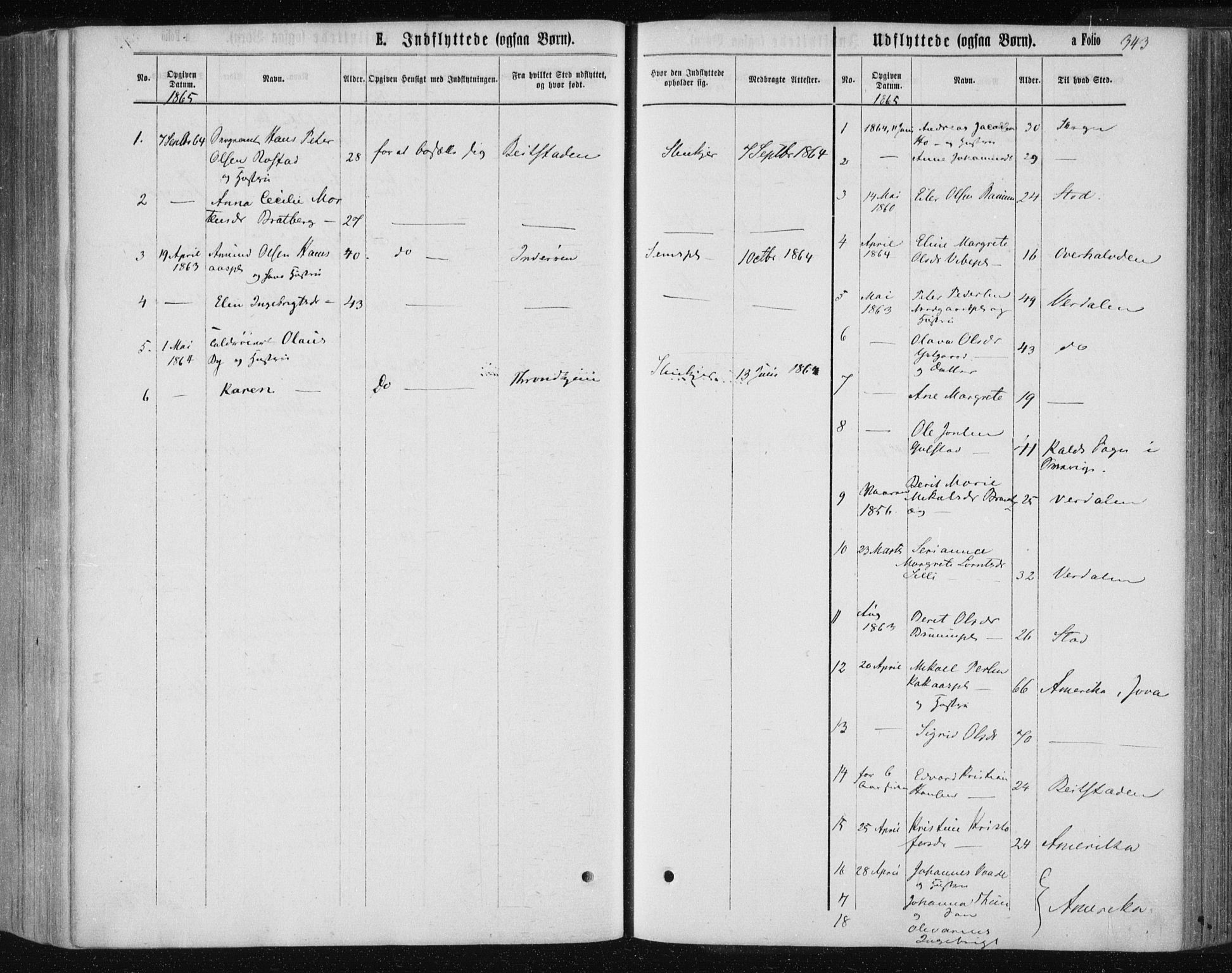 SAT, Ministerialprotokoller, klokkerbøker og fødselsregistre - Nord-Trøndelag, 735/L0345: Ministerialbok nr. 735A08 /1, 1863-1872, s. 343