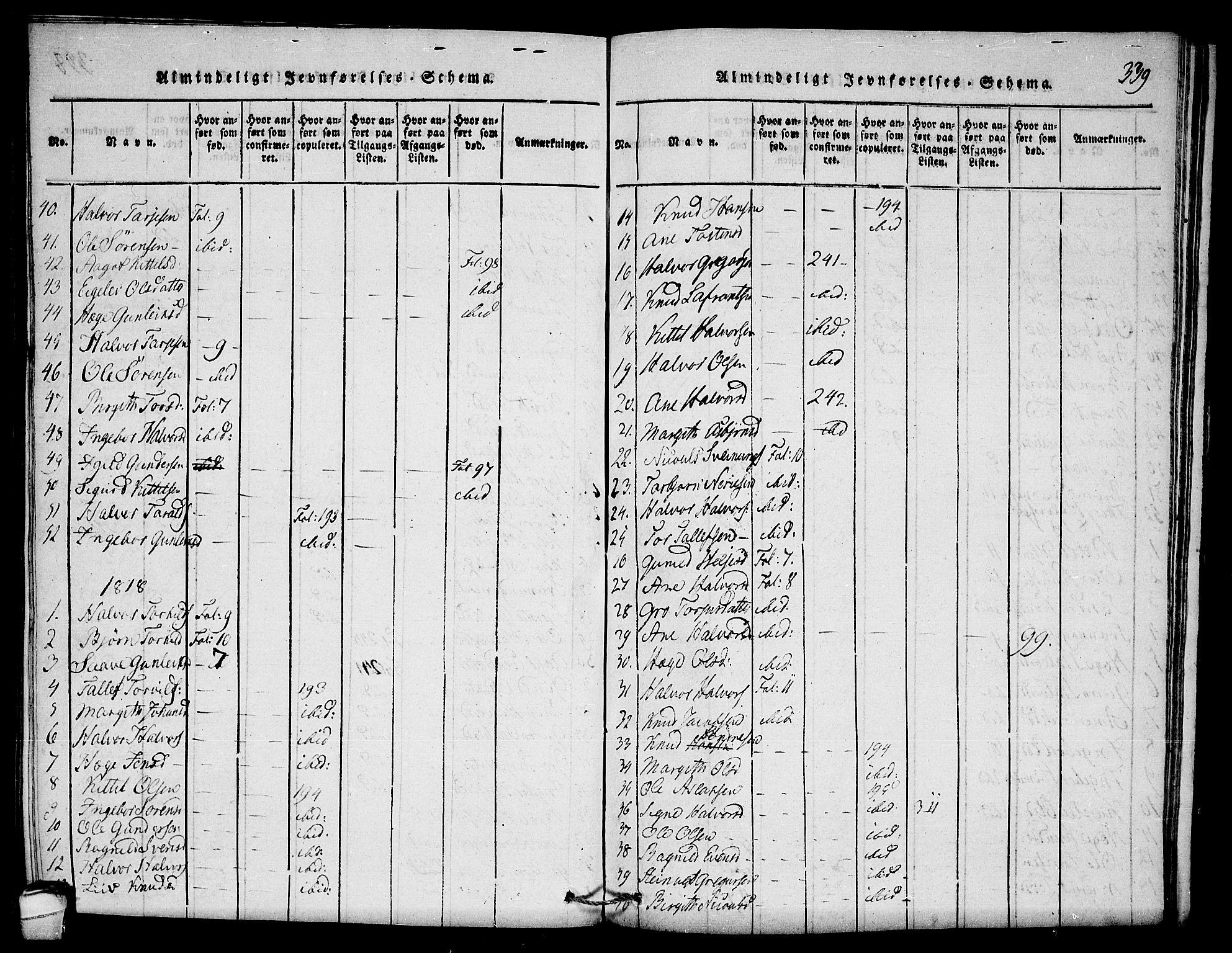 SAKO, Seljord kirkebøker, F/Fb/L0001: Ministerialbok nr. II 1, 1815-1831, s. 339