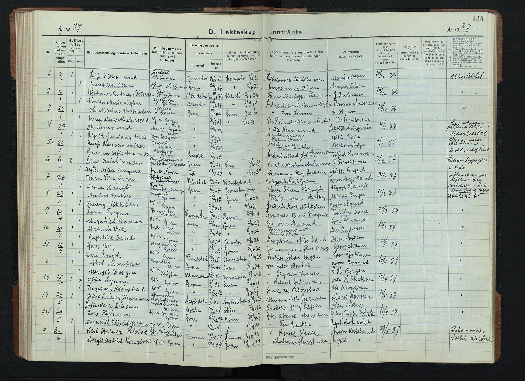 SAH, Gran prestekontor, Klokkerbok nr. 9, 1933-1950, s. 134