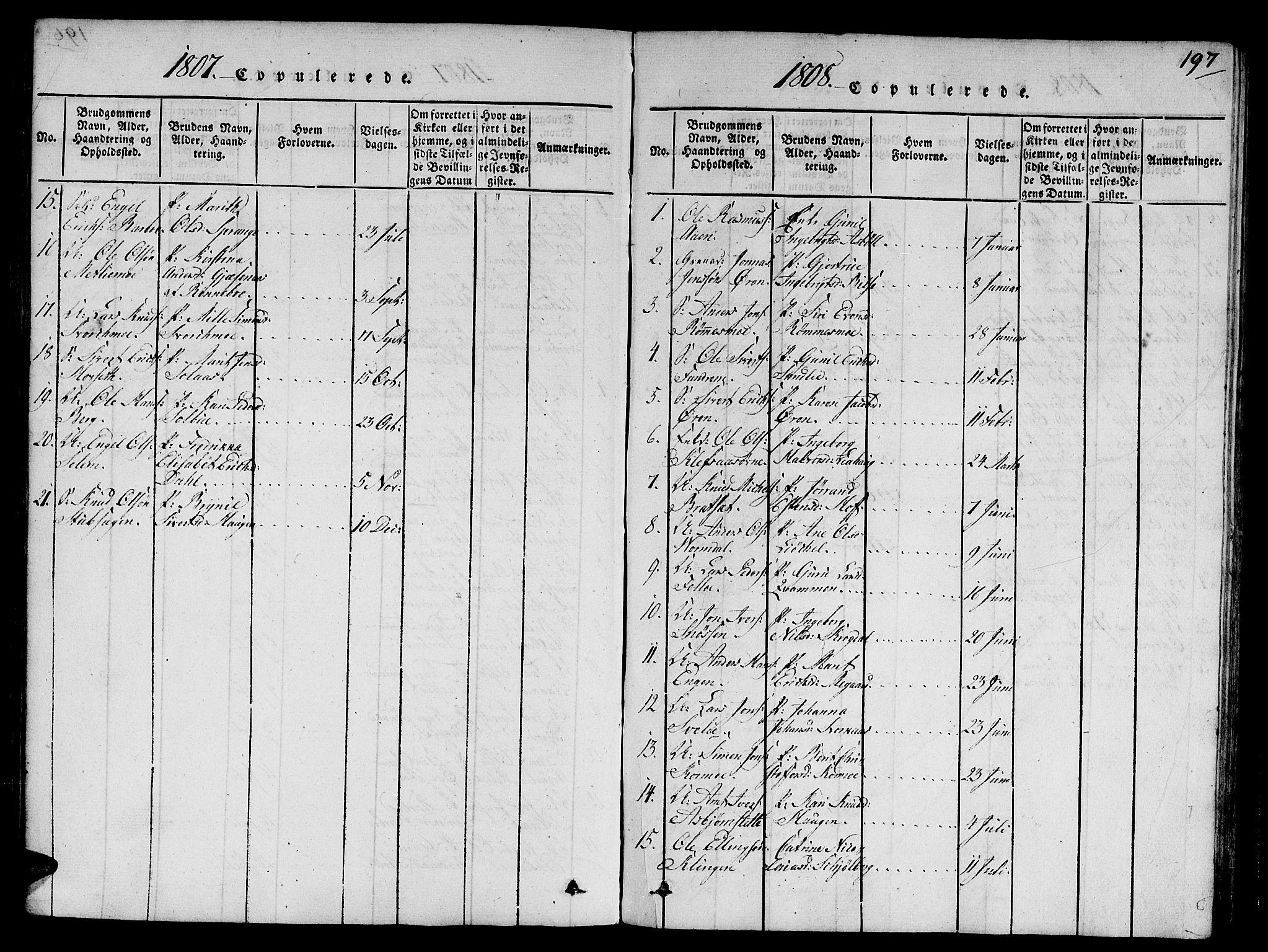 SAT, Ministerialprotokoller, klokkerbøker og fødselsregistre - Sør-Trøndelag, 668/L0803: Ministerialbok nr. 668A03, 1800-1826, s. 197