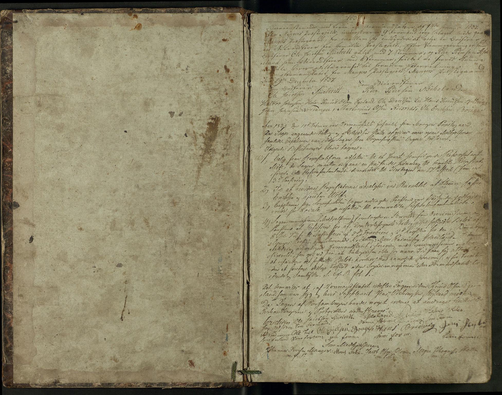 IKAH, Manger kommune. Formannskapet, A/Aa/L0001A: Møtebok for formannskap, heradsstyre og soknestyre, 1837-1858