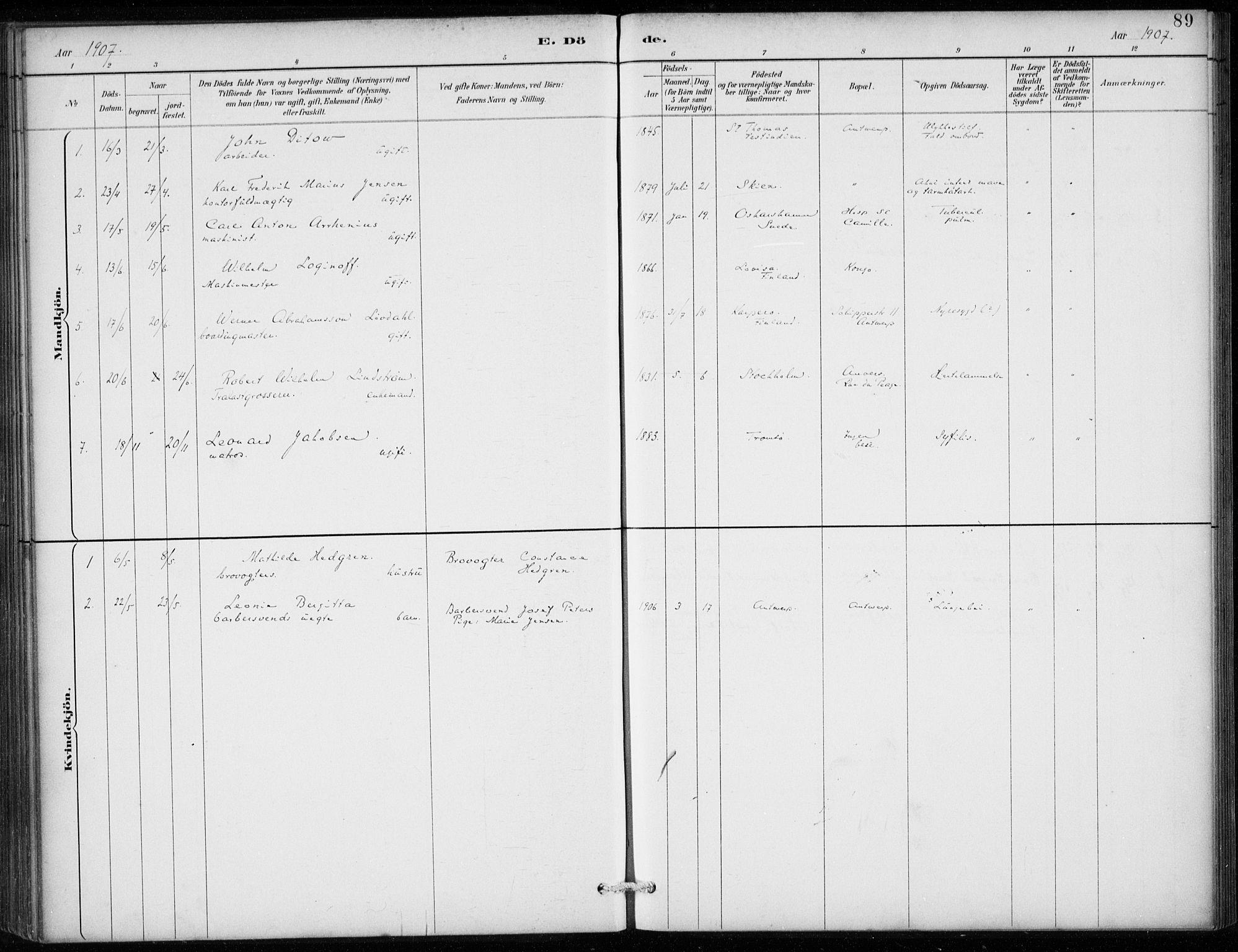 SAB, Den Norske Sjømannsmisjon i utlandet*, Ministerialbok nr. A 2, 1887-1913, s. 89