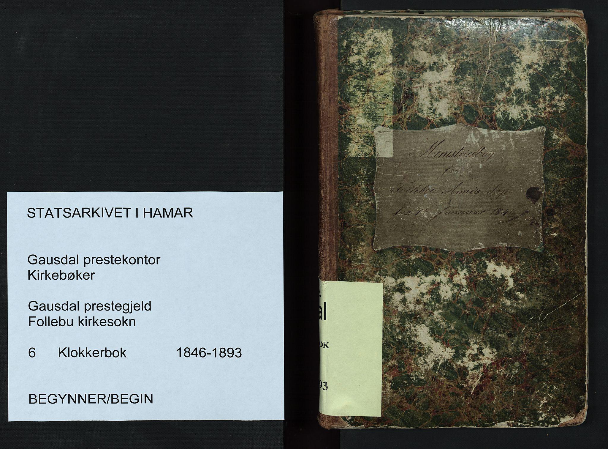 SAH, Gausdal prestekontor, Klokkerbok nr. 6, 1846-1893