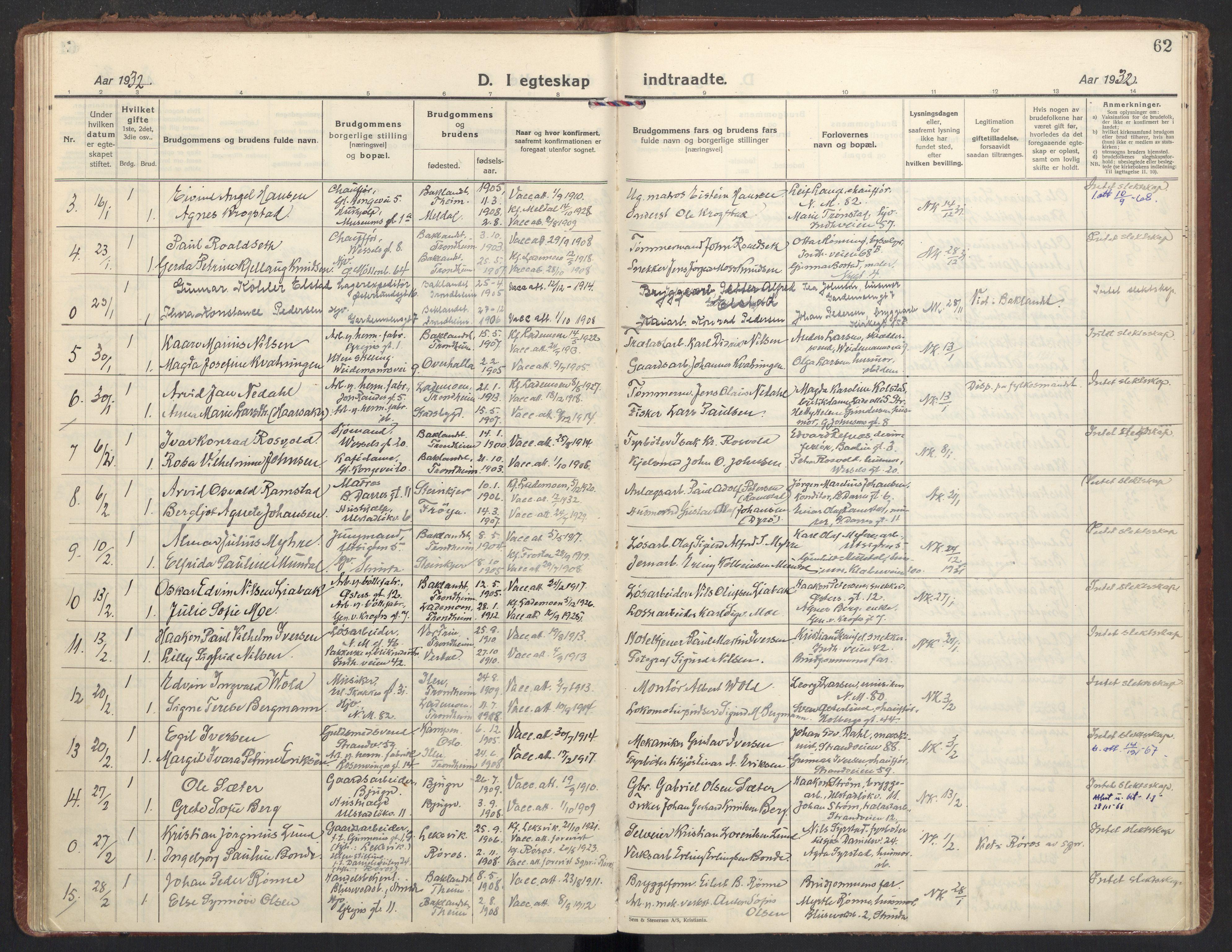 SAT, Ministerialprotokoller, klokkerbøker og fødselsregistre - Sør-Trøndelag, 605/L0249: Ministerialbok nr. 605A11, 1925-1936, s. 62