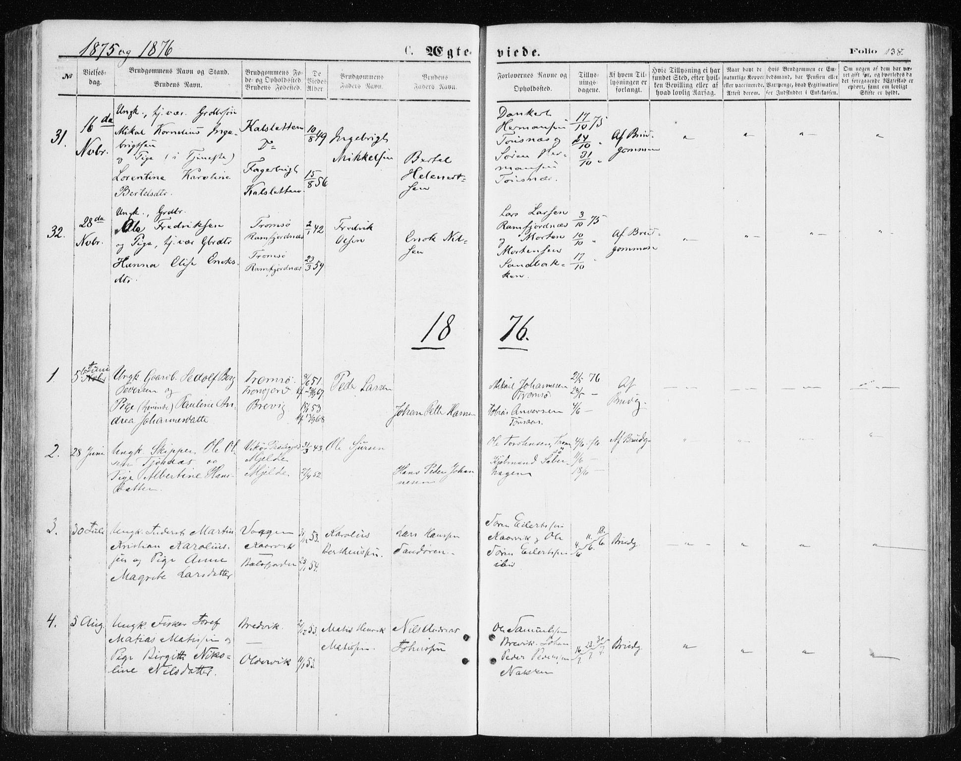 SATØ, Tromsøysund sokneprestkontor, G/Ga/L0003kirke: Ministerialbok nr. 3, 1875-1880, s. 138