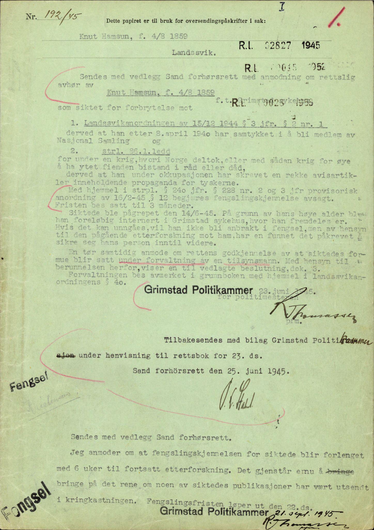 RA, Landssvikarkivet, Arendal politikammer, D/Dc/L0029: Anr. 192/45, 1945-1951, s. 8